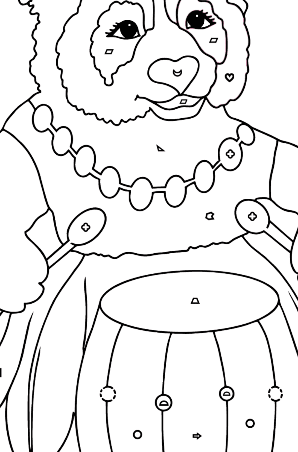 Coloring Page - A Panda and a Drum - Coloring by Geometric Shapes for Kids