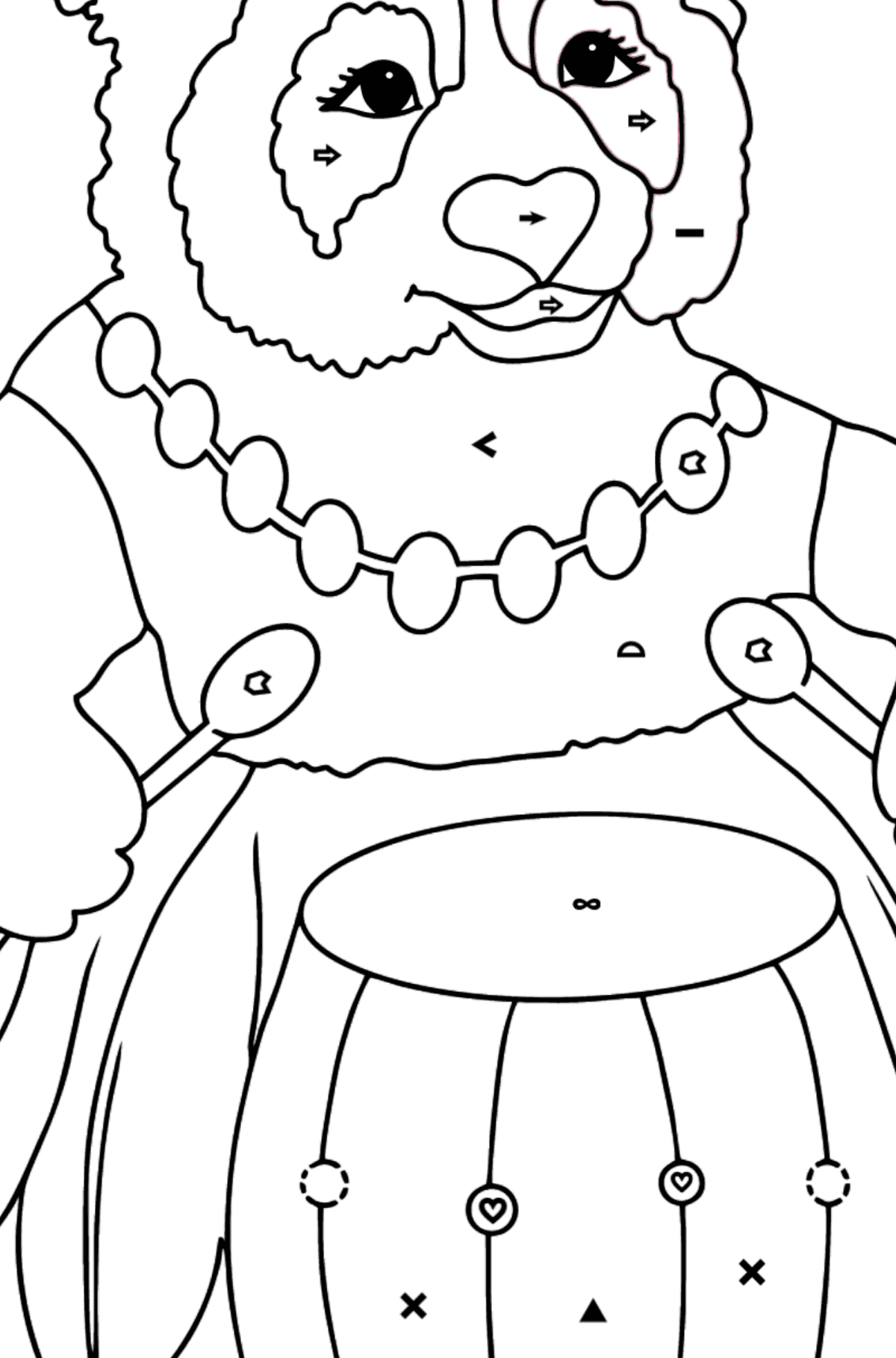 Coloring Page - A Panda and a Drum - Coloring by Symbols and Geometric Shapes for Kids