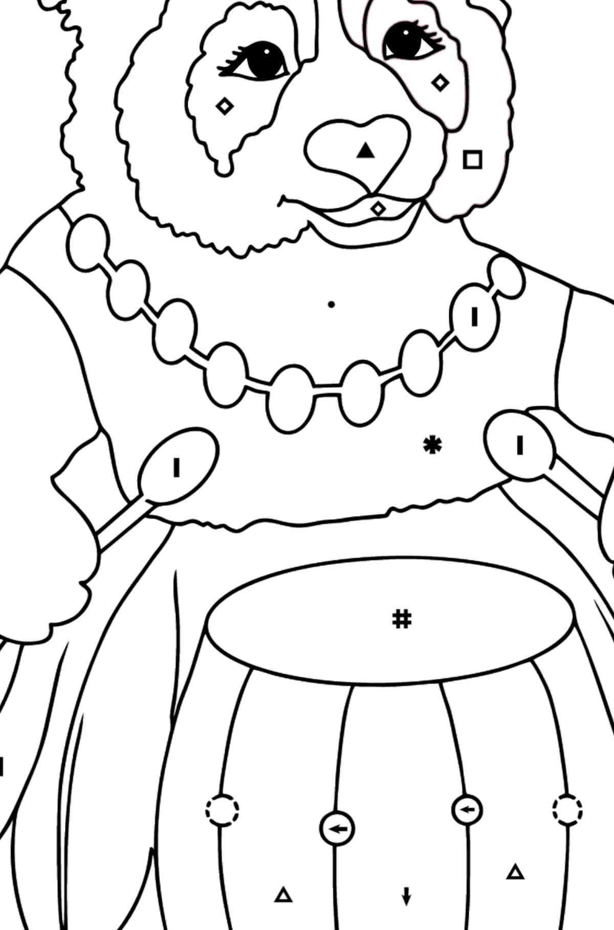 Coloring Page - A Panda and a Drum - Coloring by Symbols for Kids