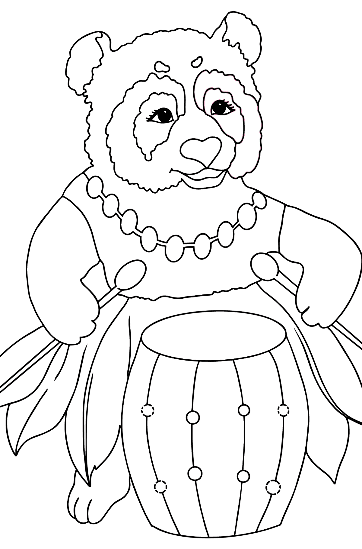 Coloring Page - A Panda and a Drum - Coloring Pages for Kids
