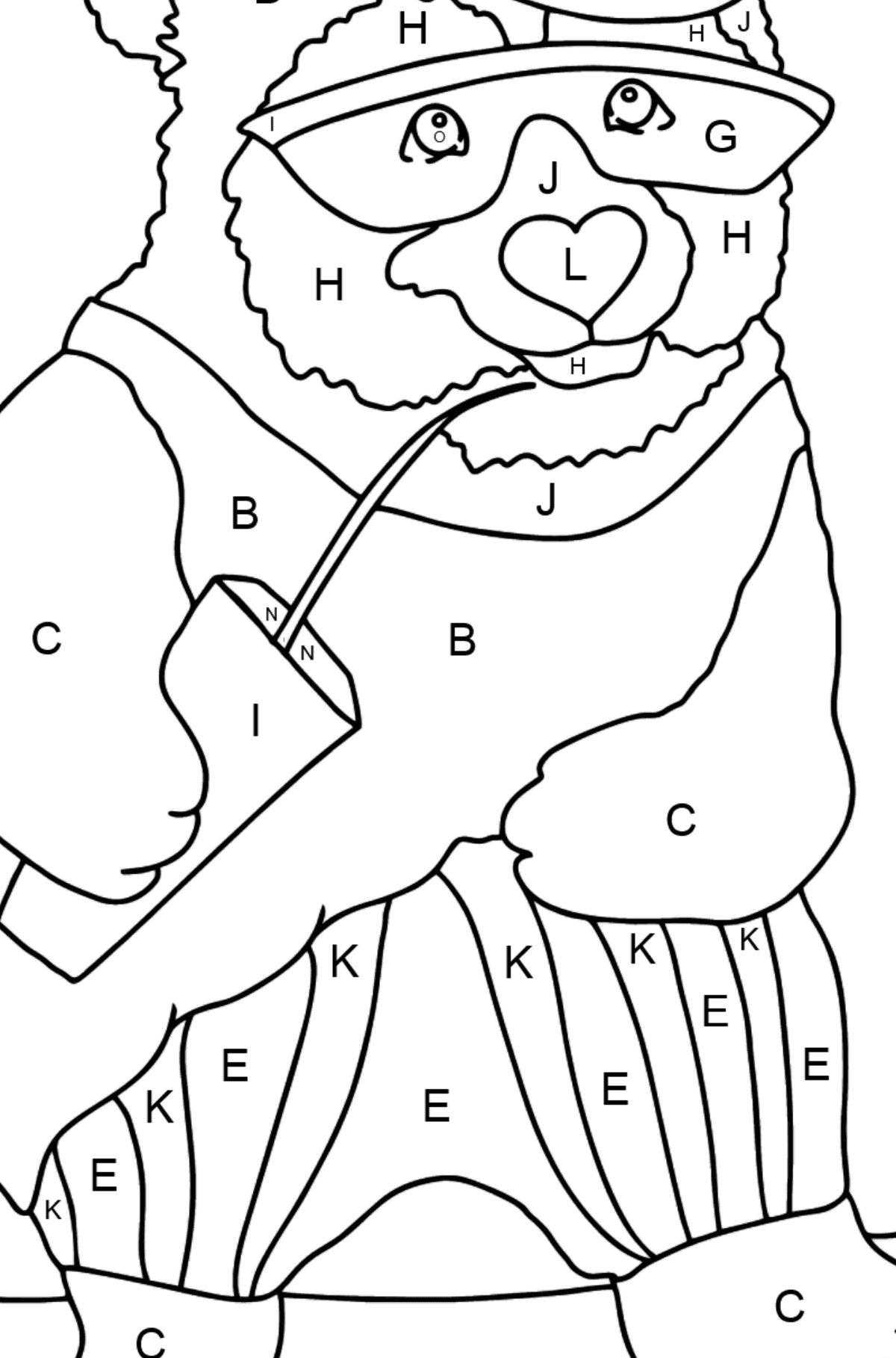 Coloring Page - A Panda in Sunglasses - Coloring by Letters for Kids