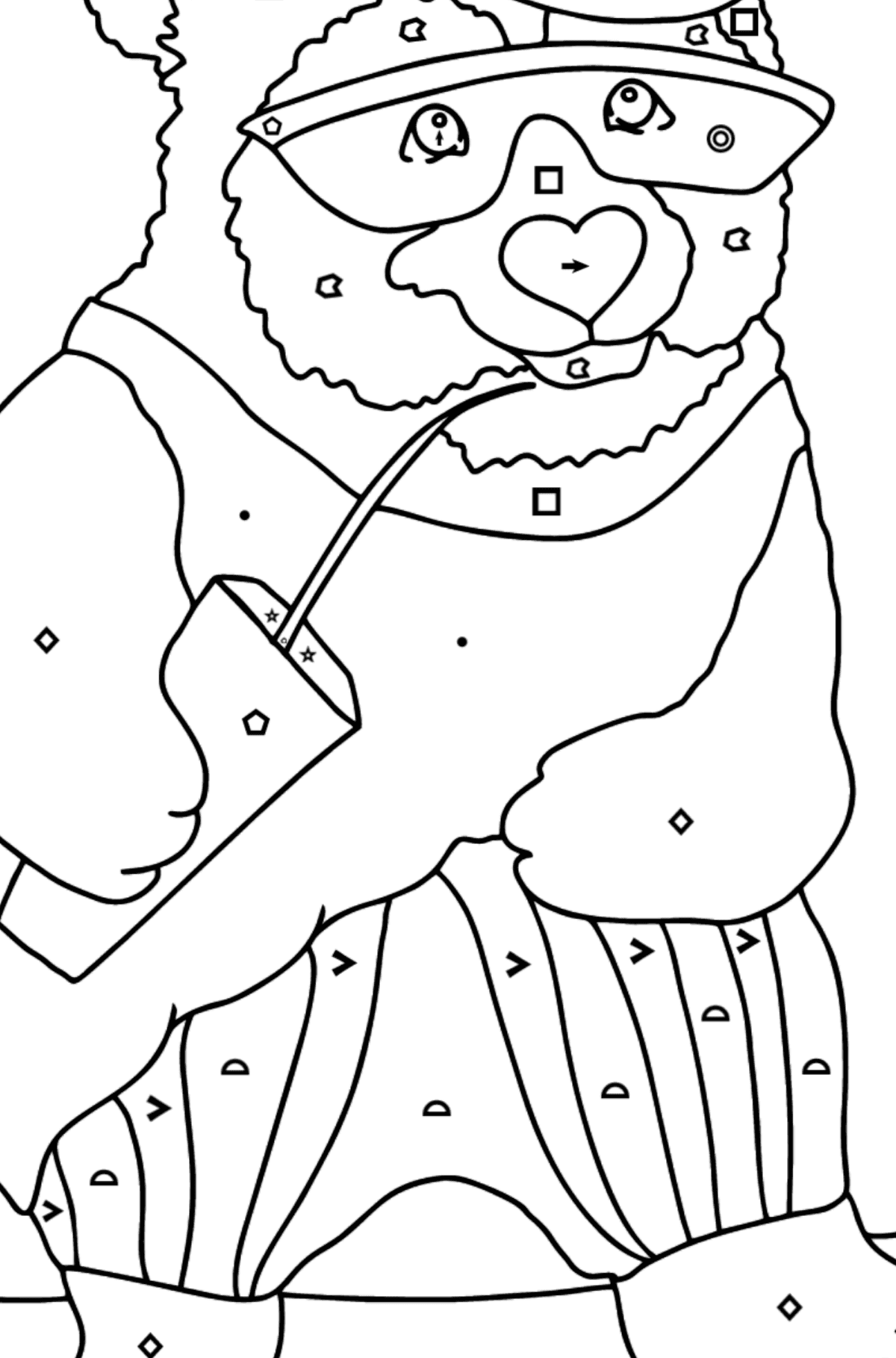 Coloring Page - A Panda in Sunglasses - Coloring by Symbols and Geometric Shapes for Kids