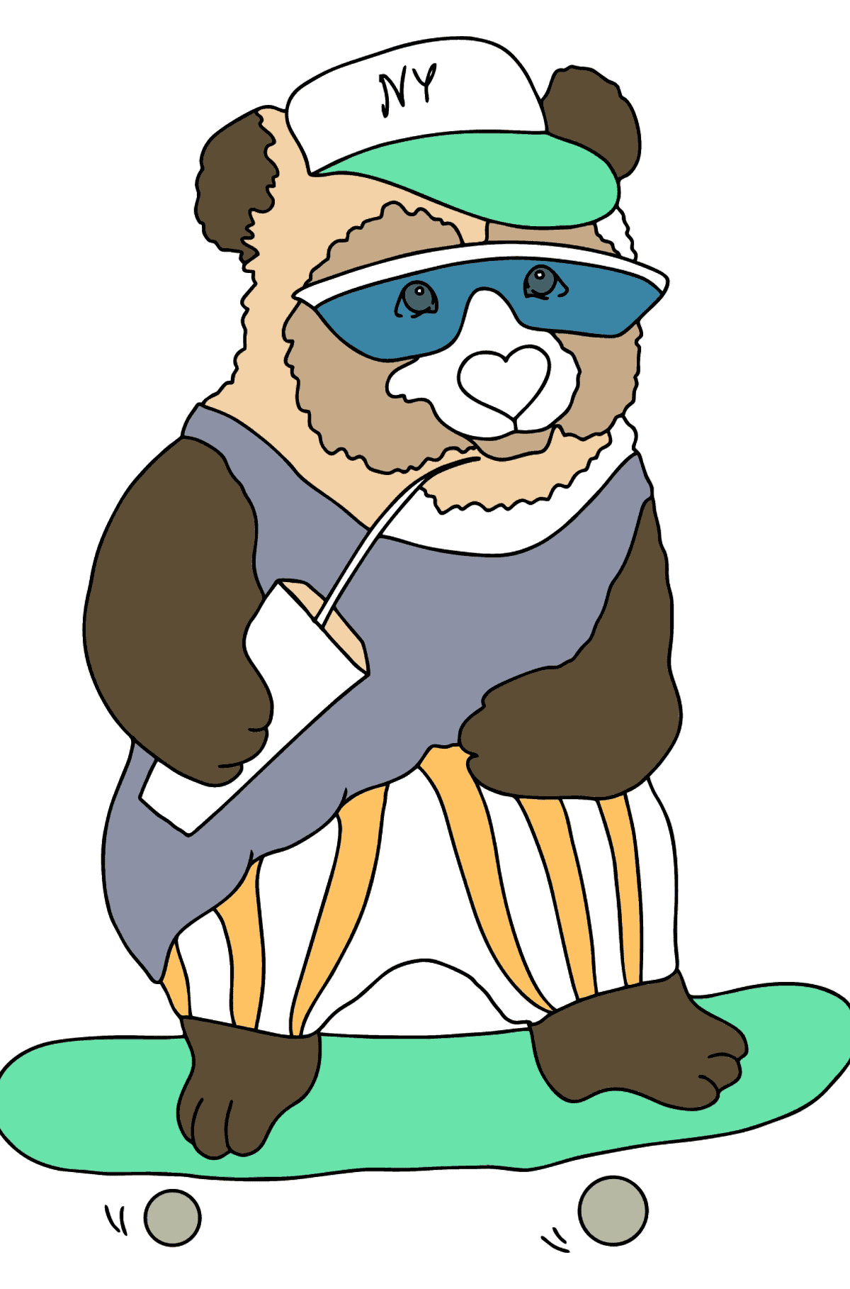 Coloring Page - A Panda in Sunglasses - Coloring Pages for Kids