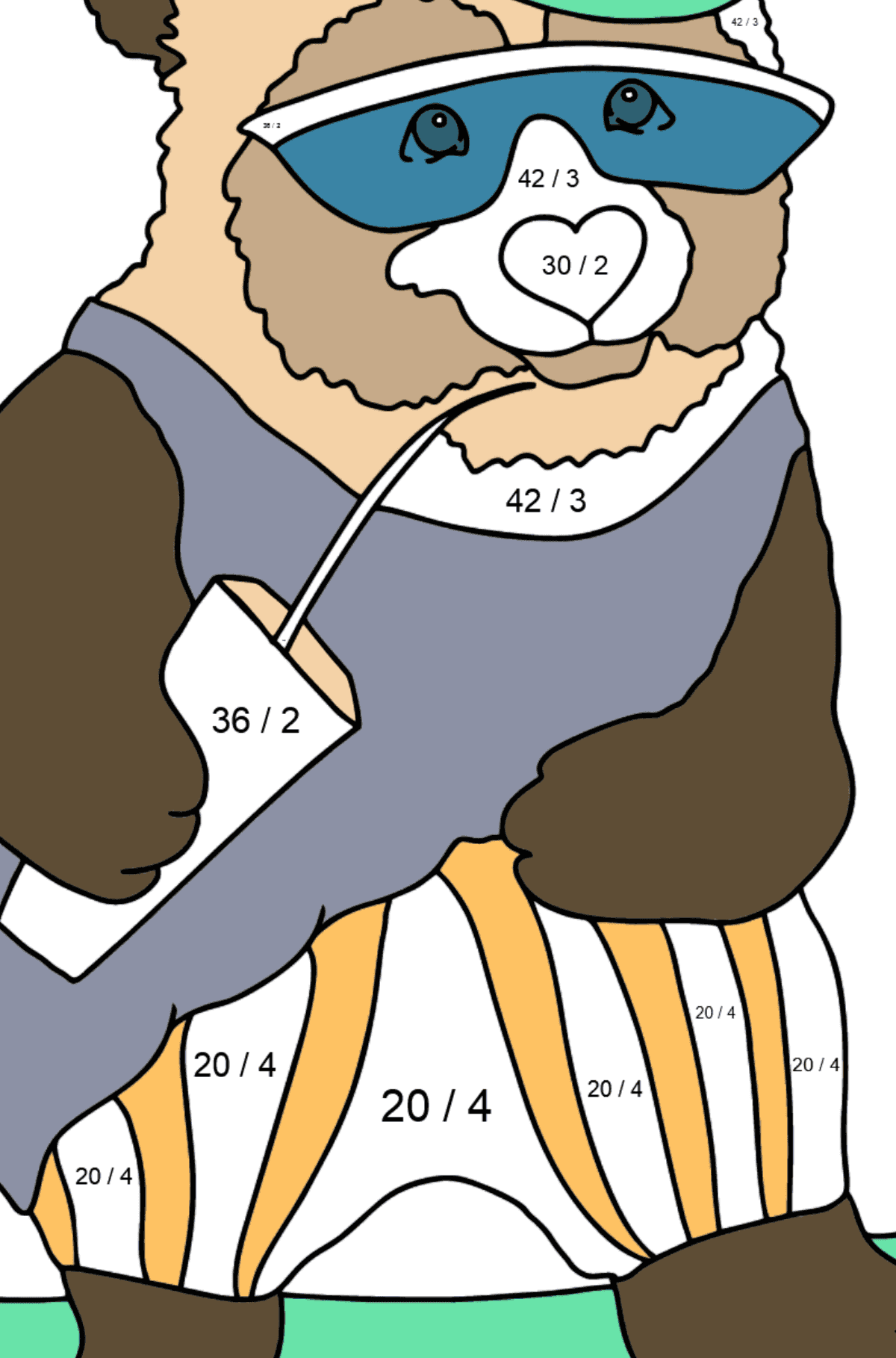 Coloring Page - A Panda in Sunglasses - Math Coloring - Division for Kids