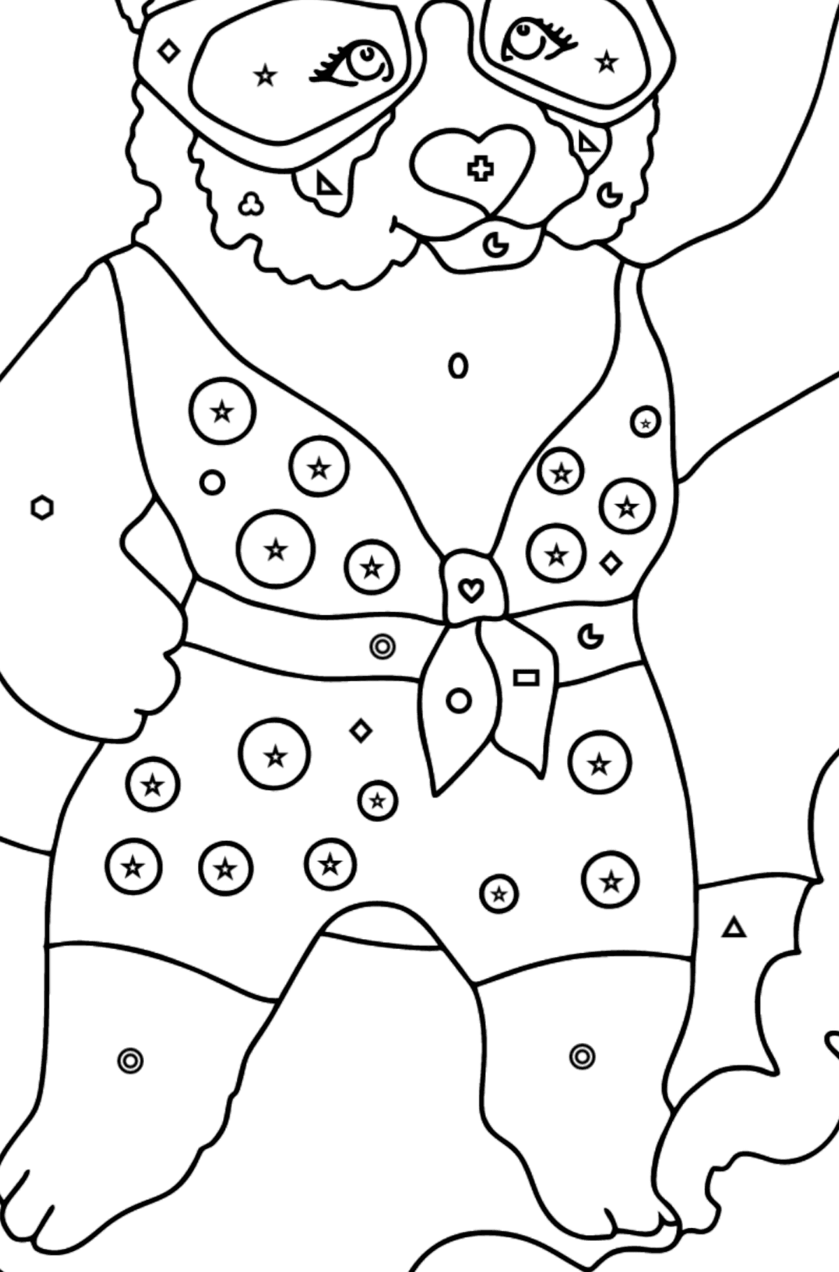 Coloring Page - A Panda is Catching a Wave - Coloring by Geometric Shapes for Kids