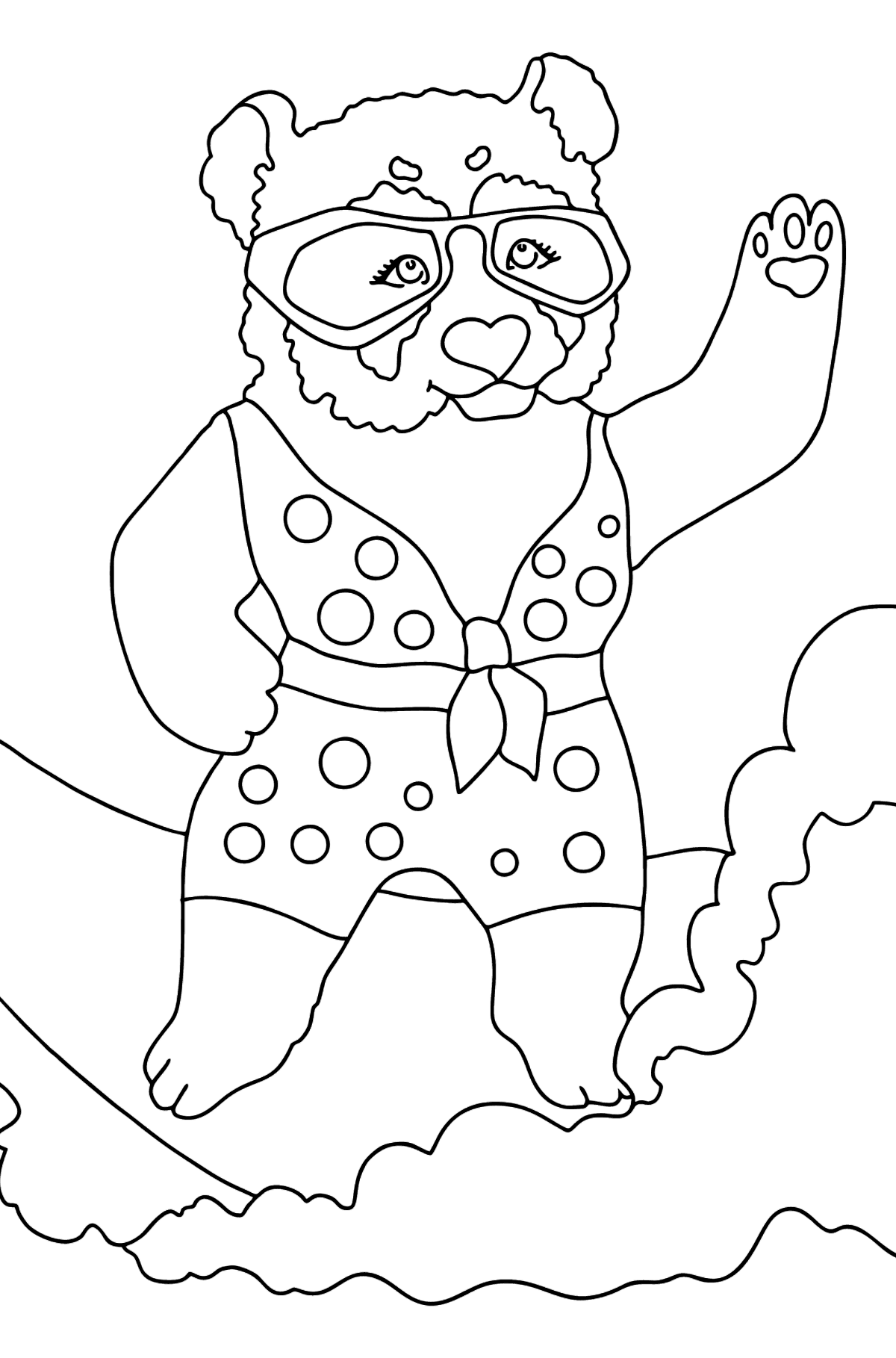 Coloring Page - A Panda is Catching a Wave - Coloring Pages for Kids
