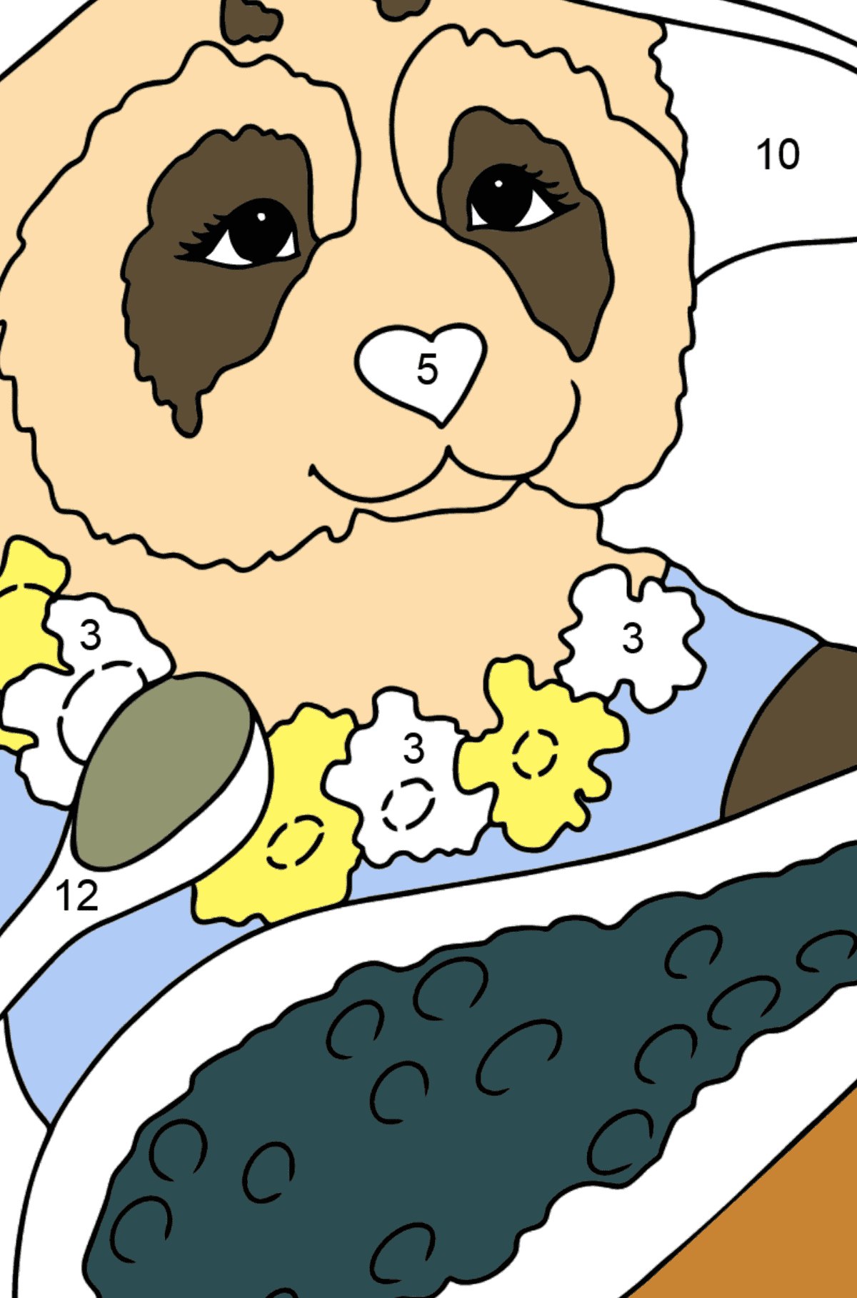 Coloring Page - A Panda is Eating - Coloring by Numbers for Kids