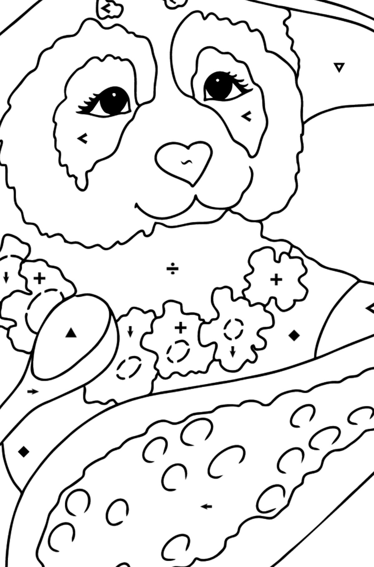 Coloring Page - A Panda is Eating - Coloring by Symbols for Kids