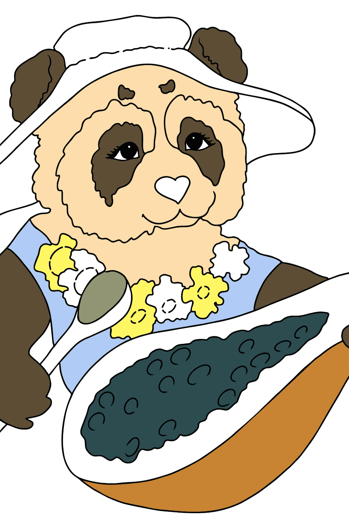 Coloring Page - A Panda is Eating - Coloring Pages for Kids