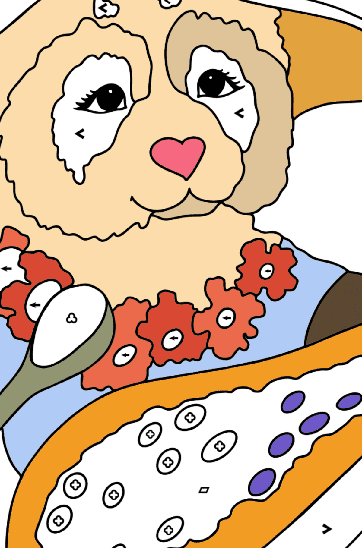 Coloring Page - A Panda is Eating Papaya - Coloring by Symbols and Geometric Shapes for Kids