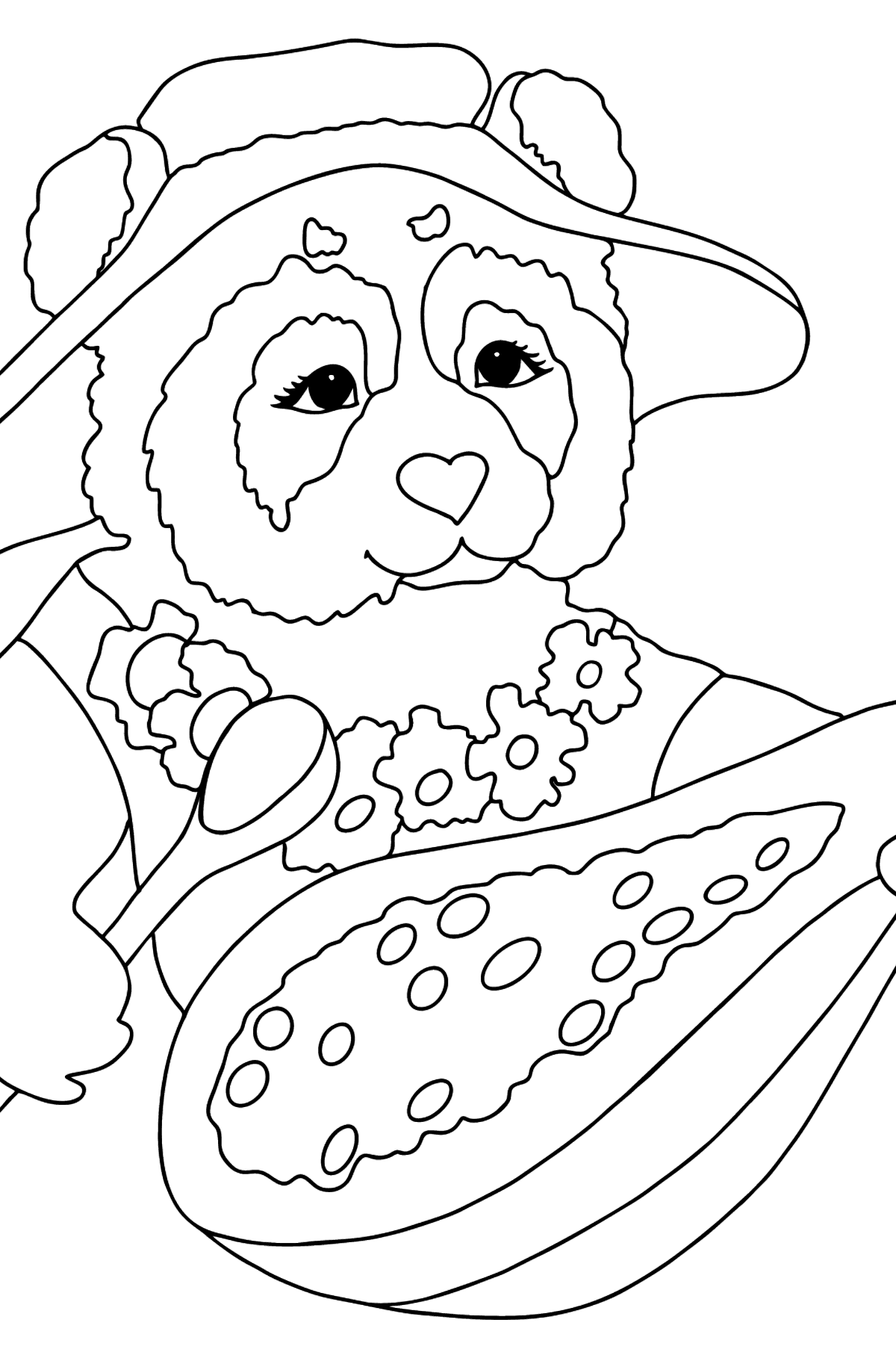 Coloring Page - A Panda is Eating Papaya - Coloring Pages for Kids
