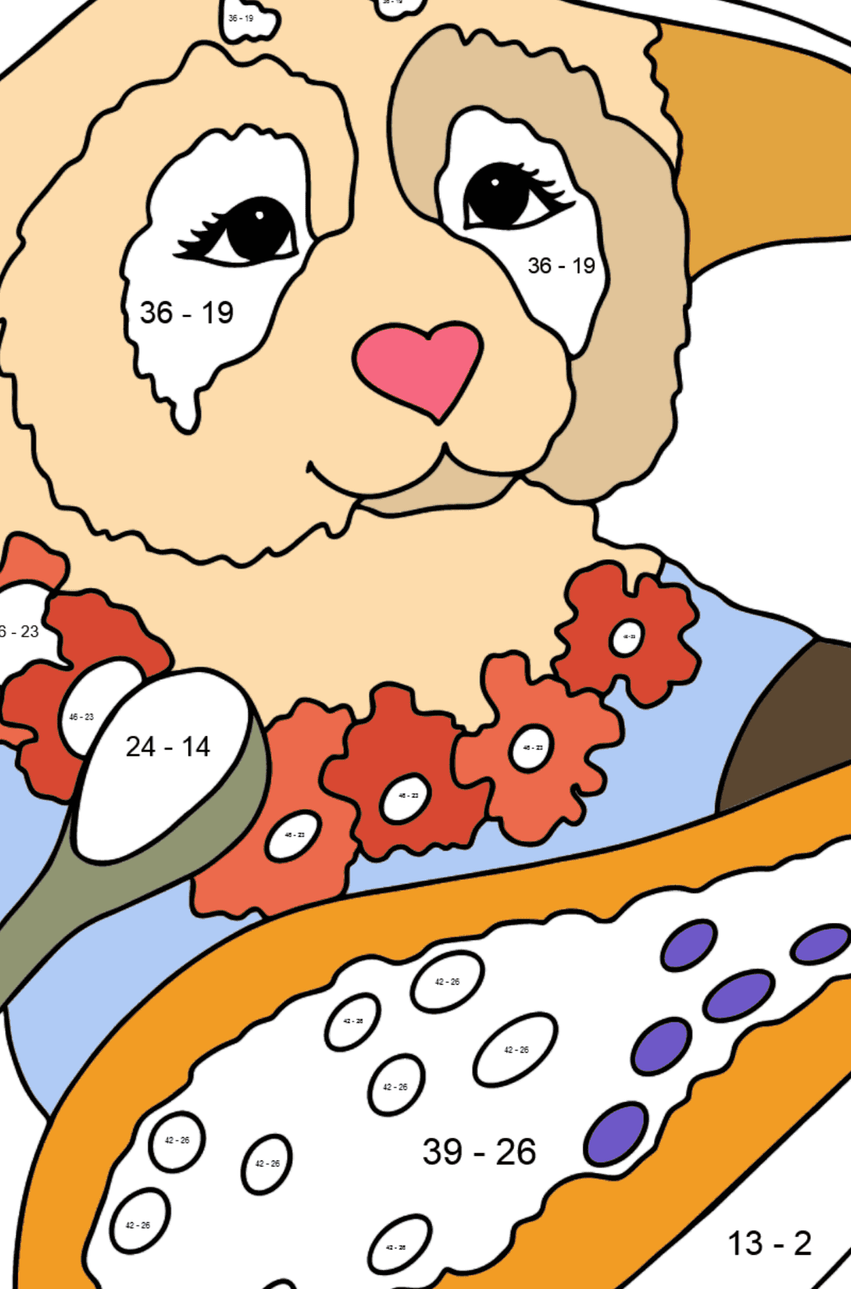 Coloring Page - A Panda is Eating Papaya - Math Coloring - Subtraction for Kids