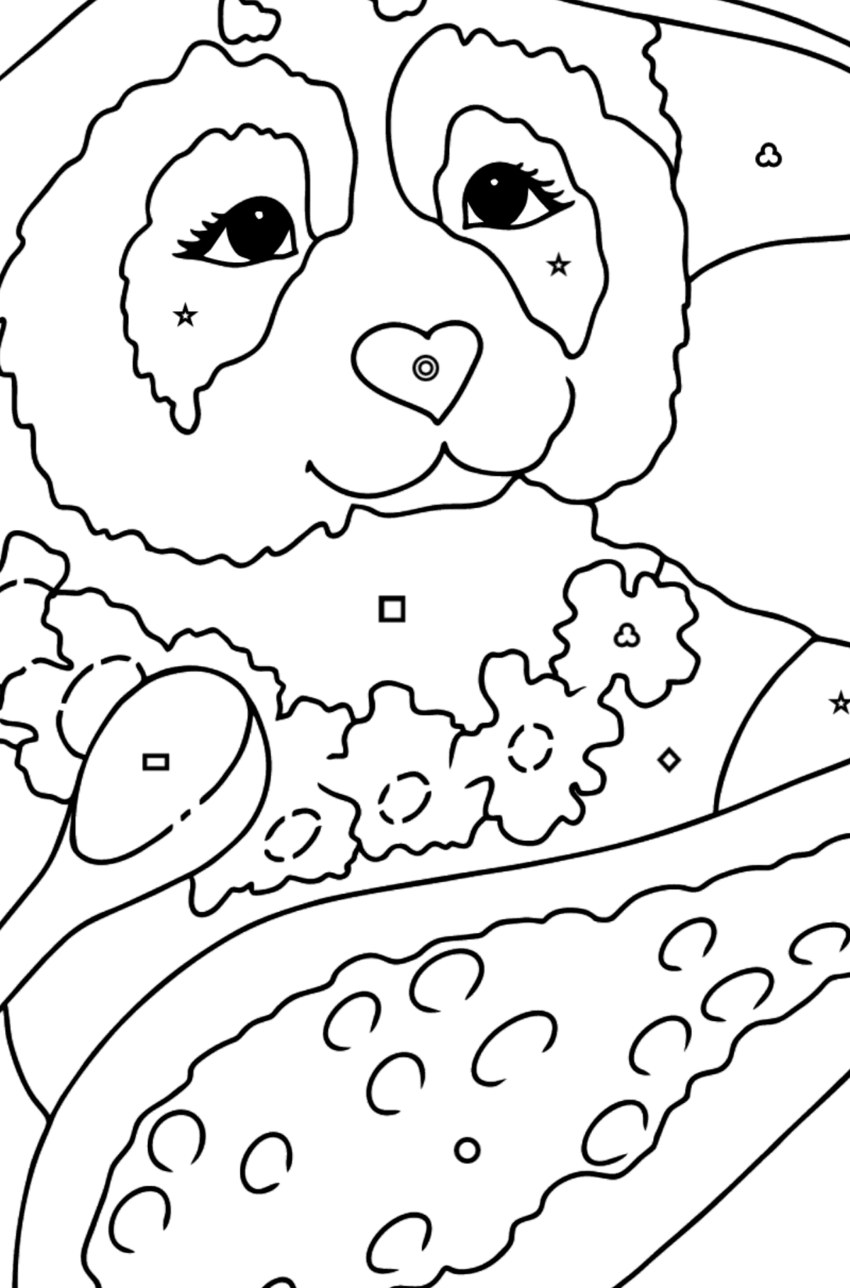 Coloring Page - A Panda is Having Lunch - Coloring by Geometric Shapes for Kids