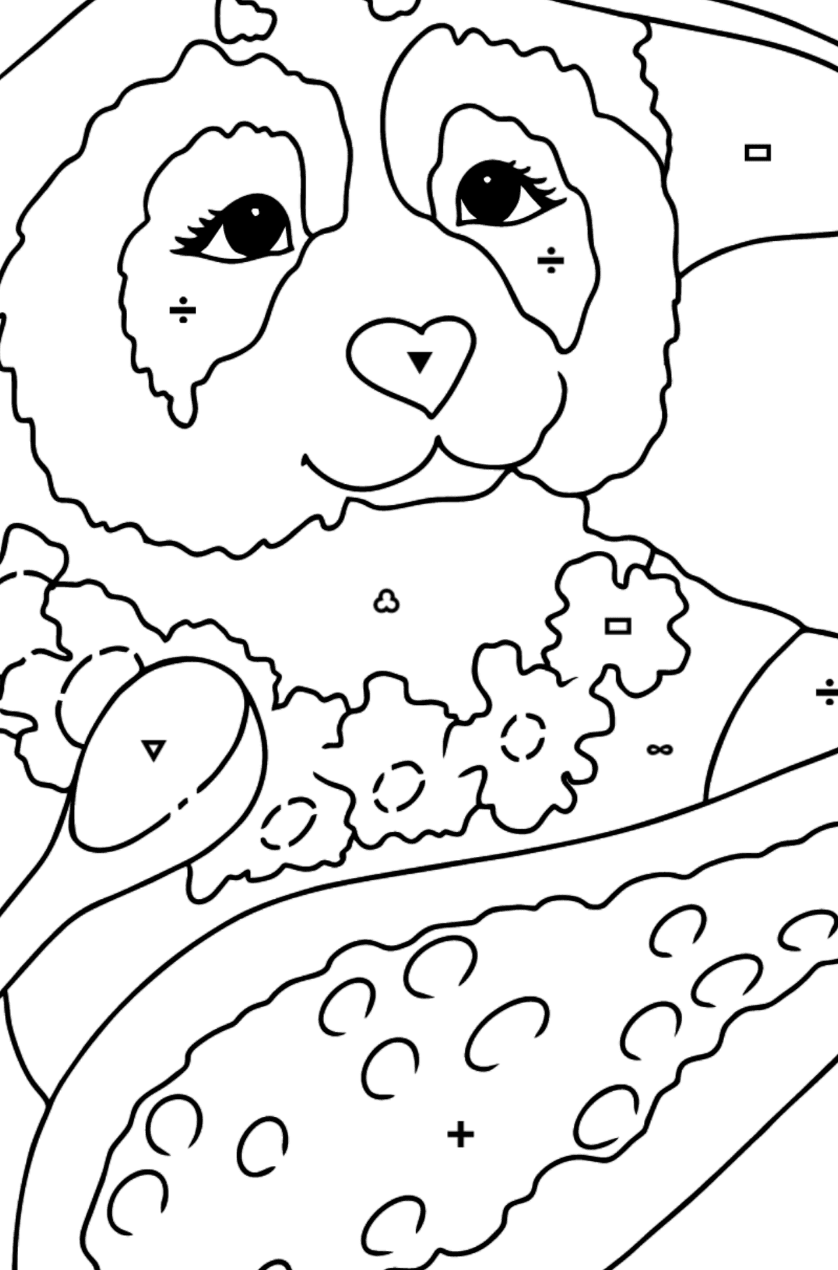 Coloring Page - A Panda is Having Lunch - Coloring by Symbols and Geometric Shapes for Kids