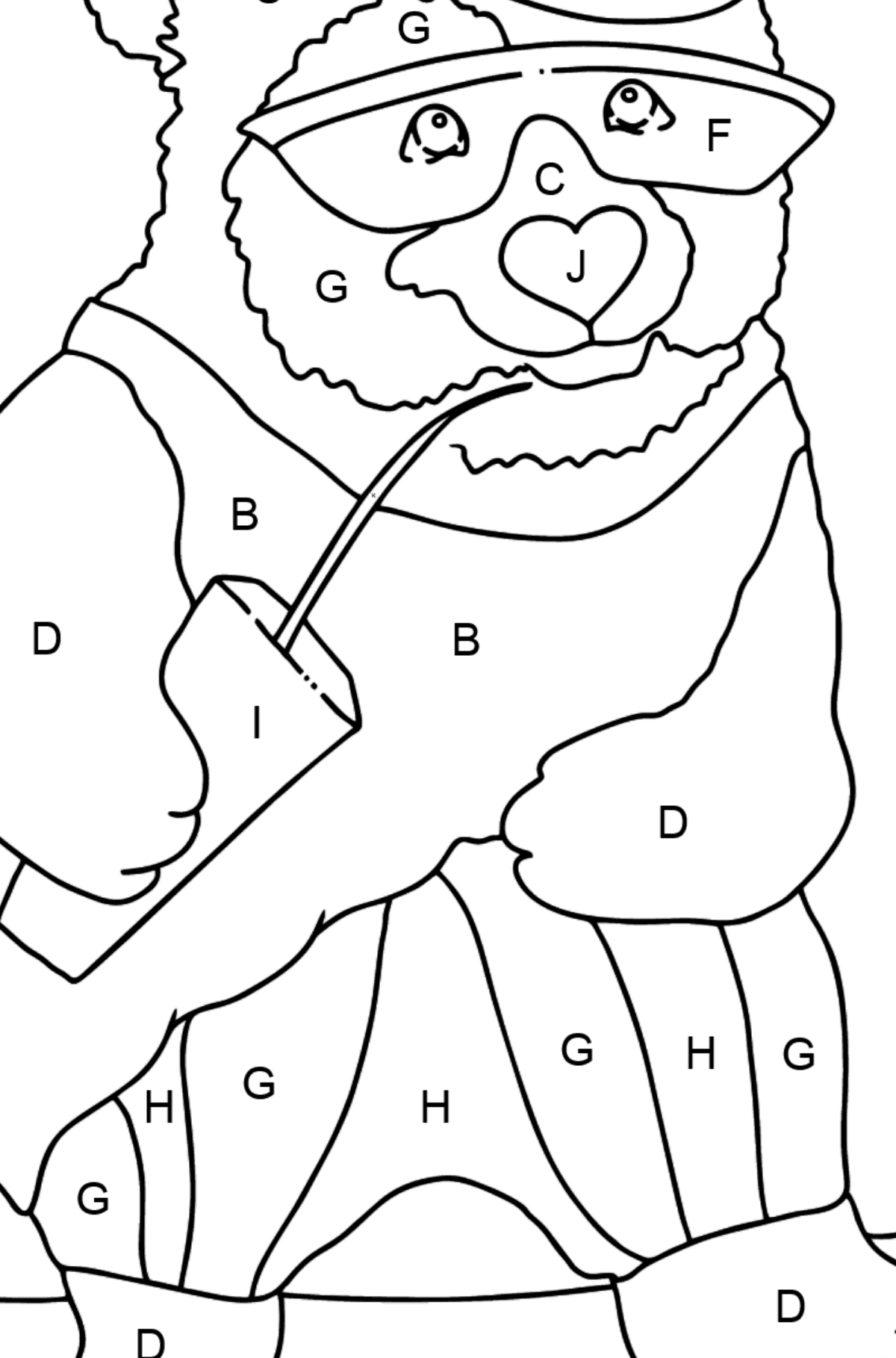 Coloring Page - A Panda is Learning to Ride a Skateboard - Coloring by Letters for Kids
