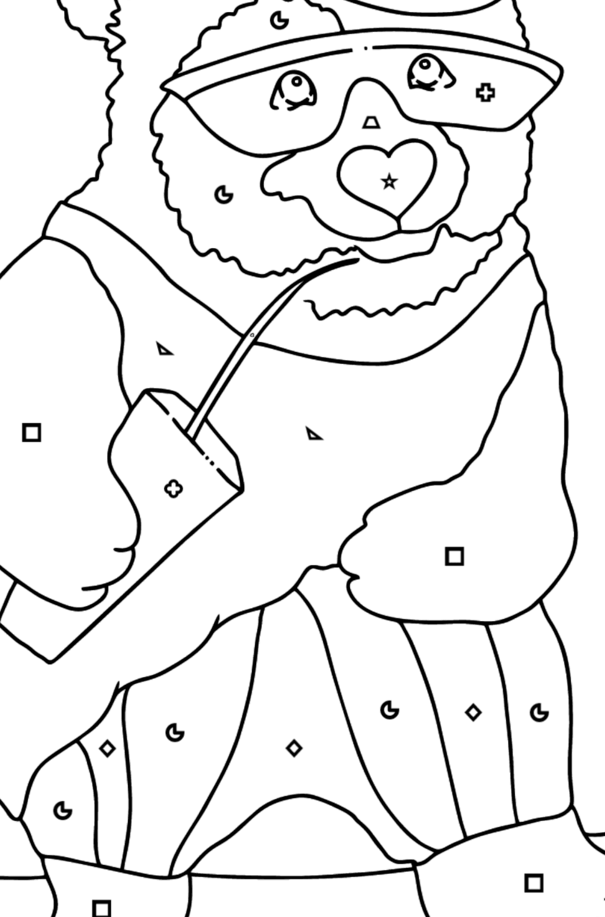 Coloring Page - A Panda is Learning to Ride a Skateboard - Coloring by Geometric Shapes for Kids