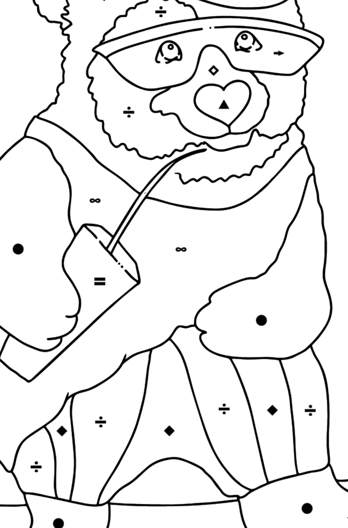 Coloring Page - A Panda is Learning to Ride a Skateboard - Coloring by Symbols for Kids