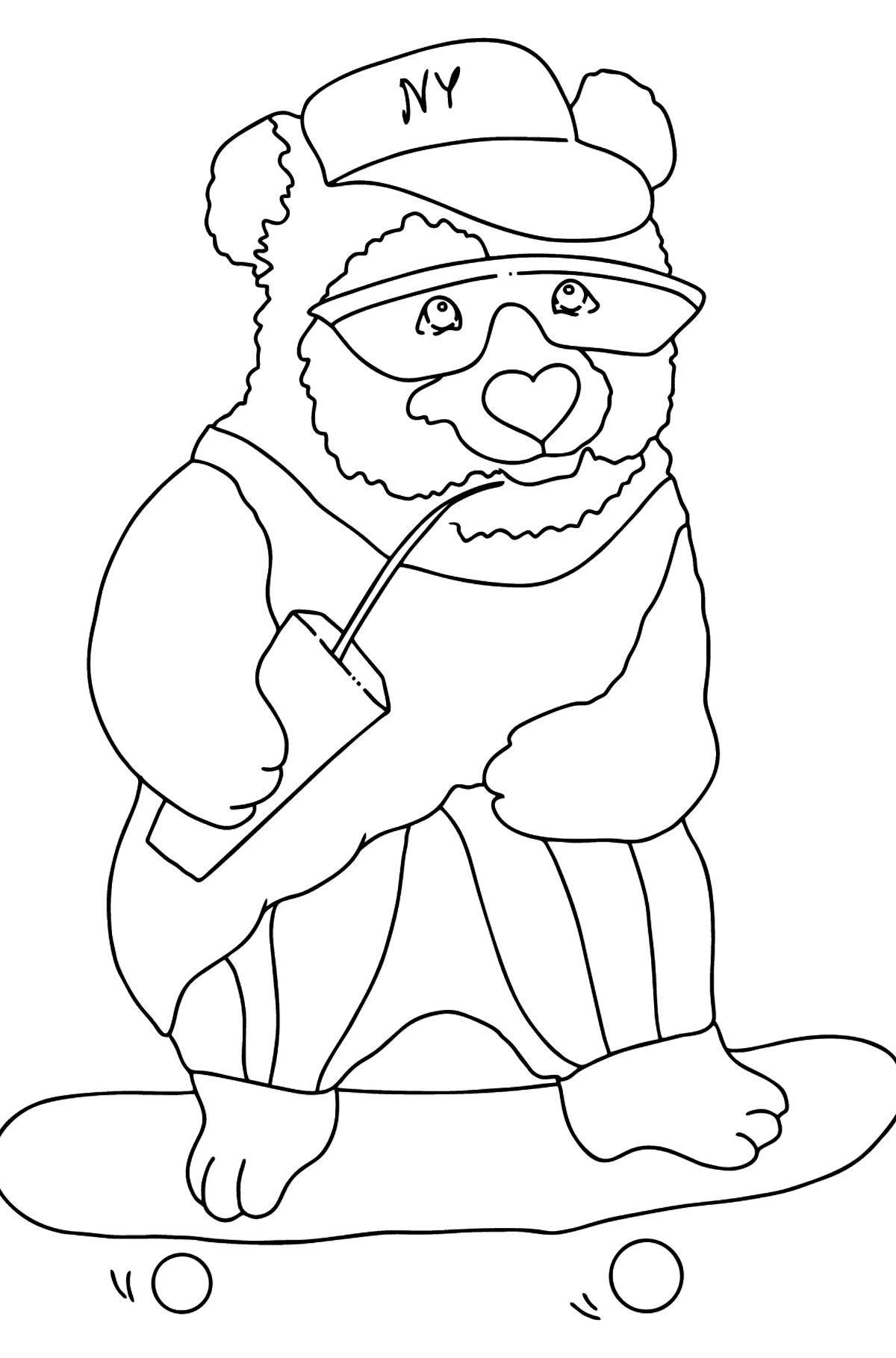 Coloring Page - A Panda is Learning to Ride a Skateboard - Coloring Pages for Kids