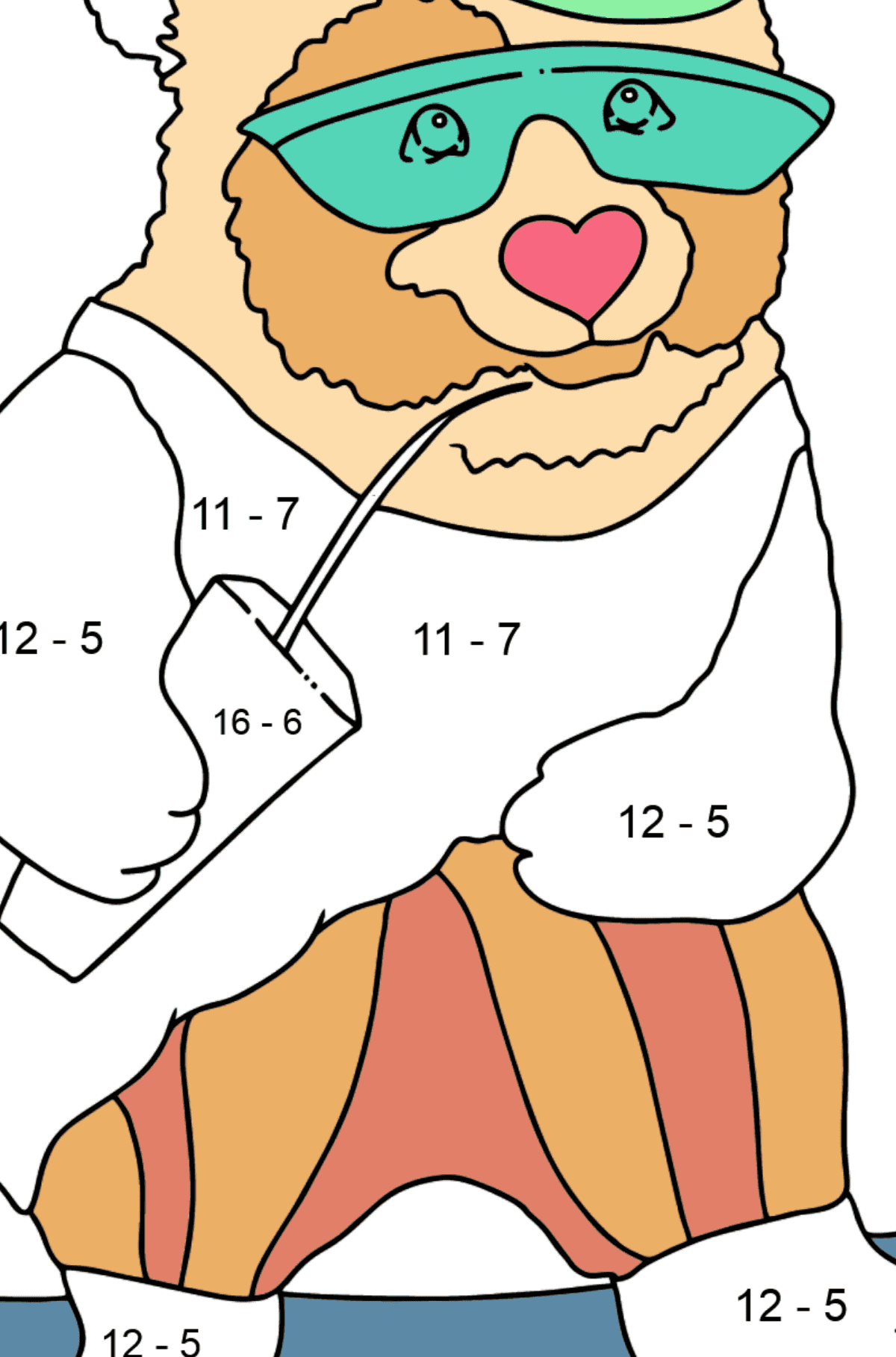 Coloring Page - A Panda is Learning to Ride a Skateboard - Math Coloring - Subtraction for Kids