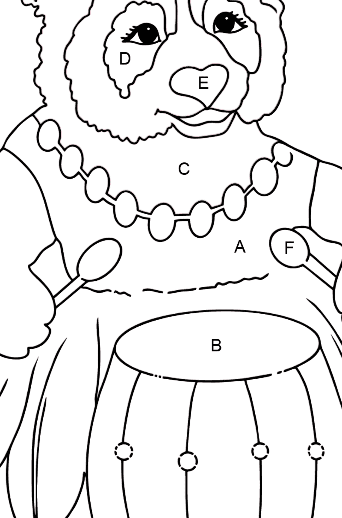Coloring Page - A Panda is Playing a Drum - Coloring by Letters for Kids