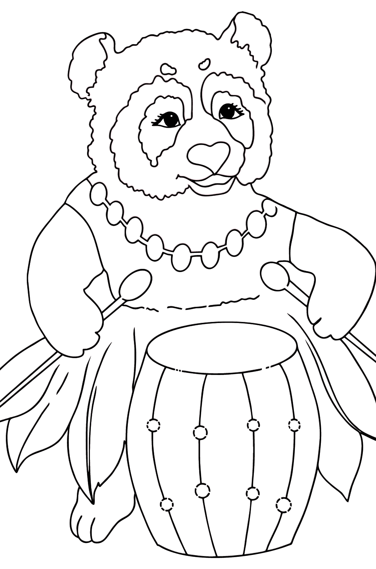 Coloring Page - A Panda is Playing a Drum - Coloring Pages for Kids