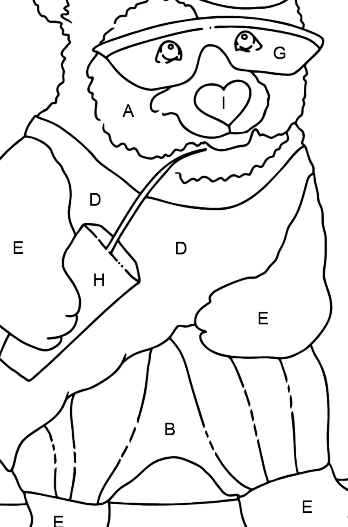 Coloring Page - A Panda on a Skateboard - Coloring by Letters for Kids