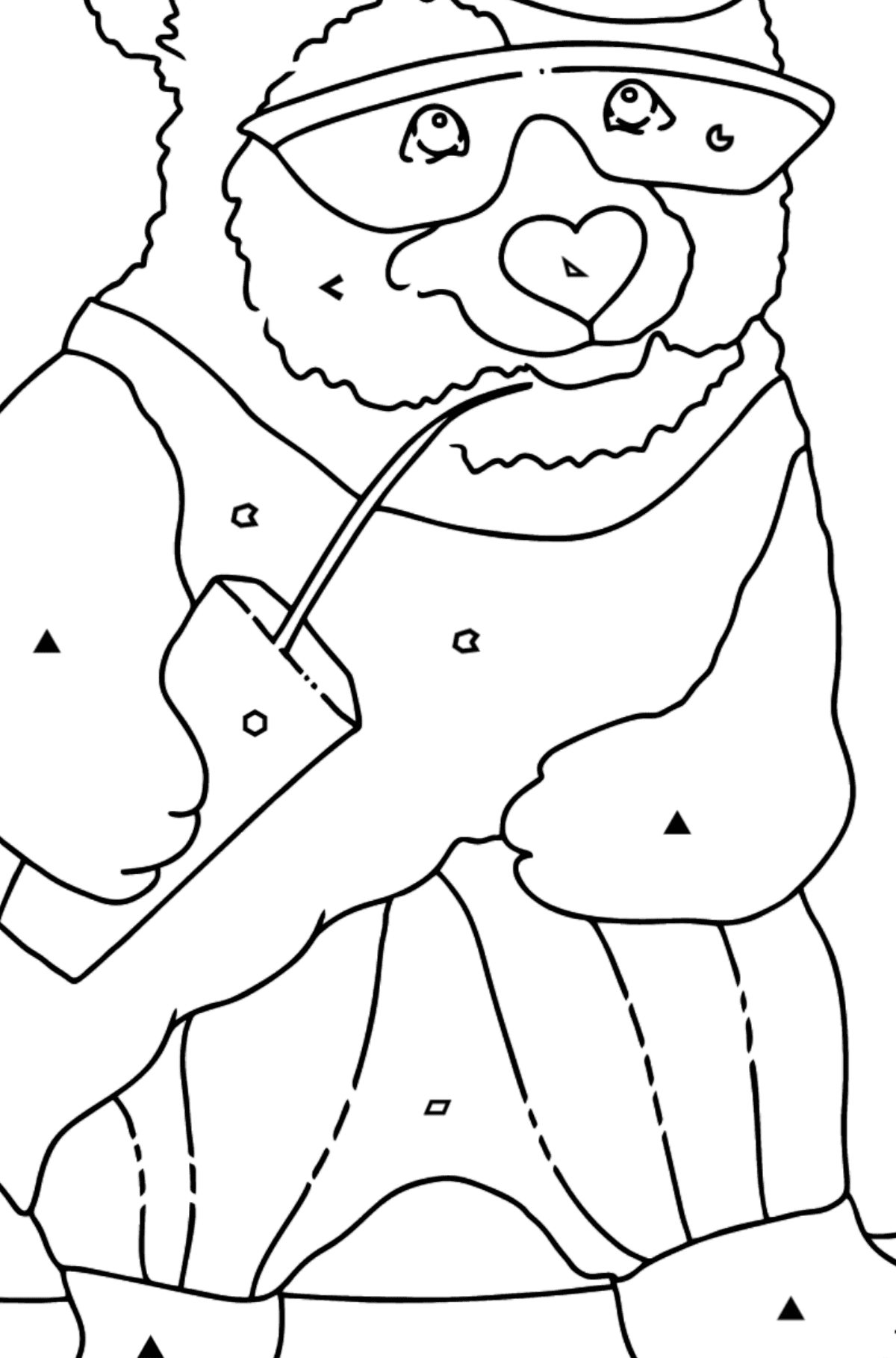 Coloring Page - A Panda on a Skateboard - Coloring by Symbols and Geometric Shapes for Kids