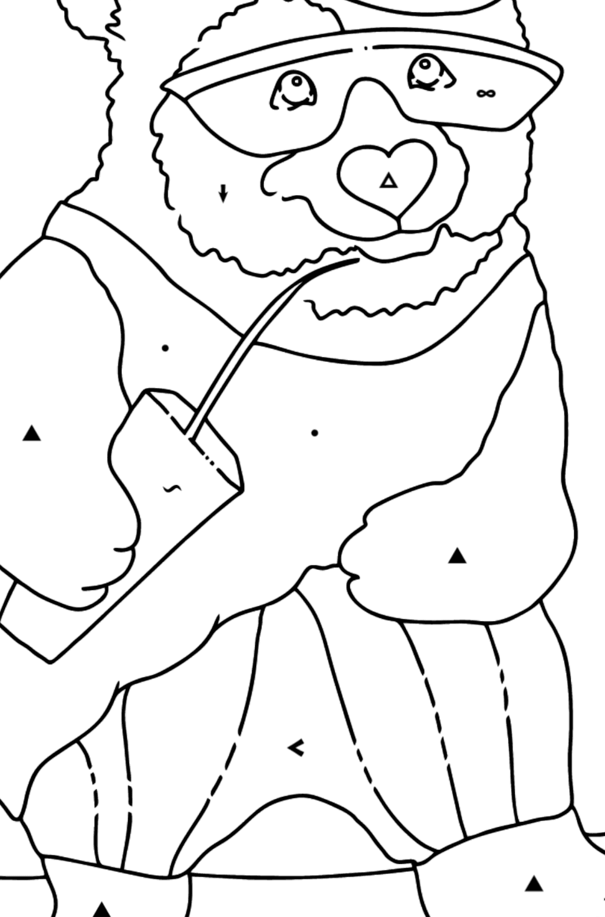 Coloring Page - A Panda on a Skateboard - Coloring by Symbols for Kids