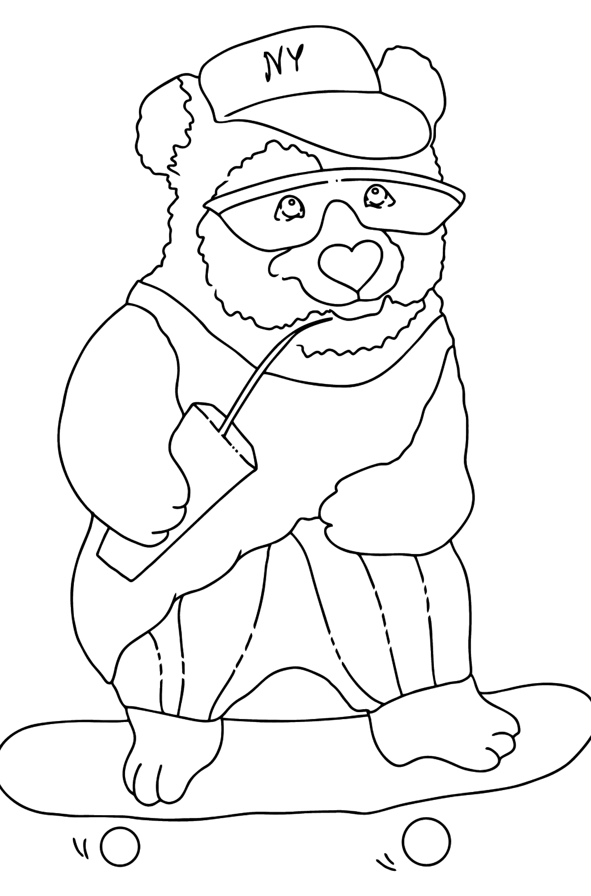 Раскраска Панда на скейтборде - Картинки для Детей