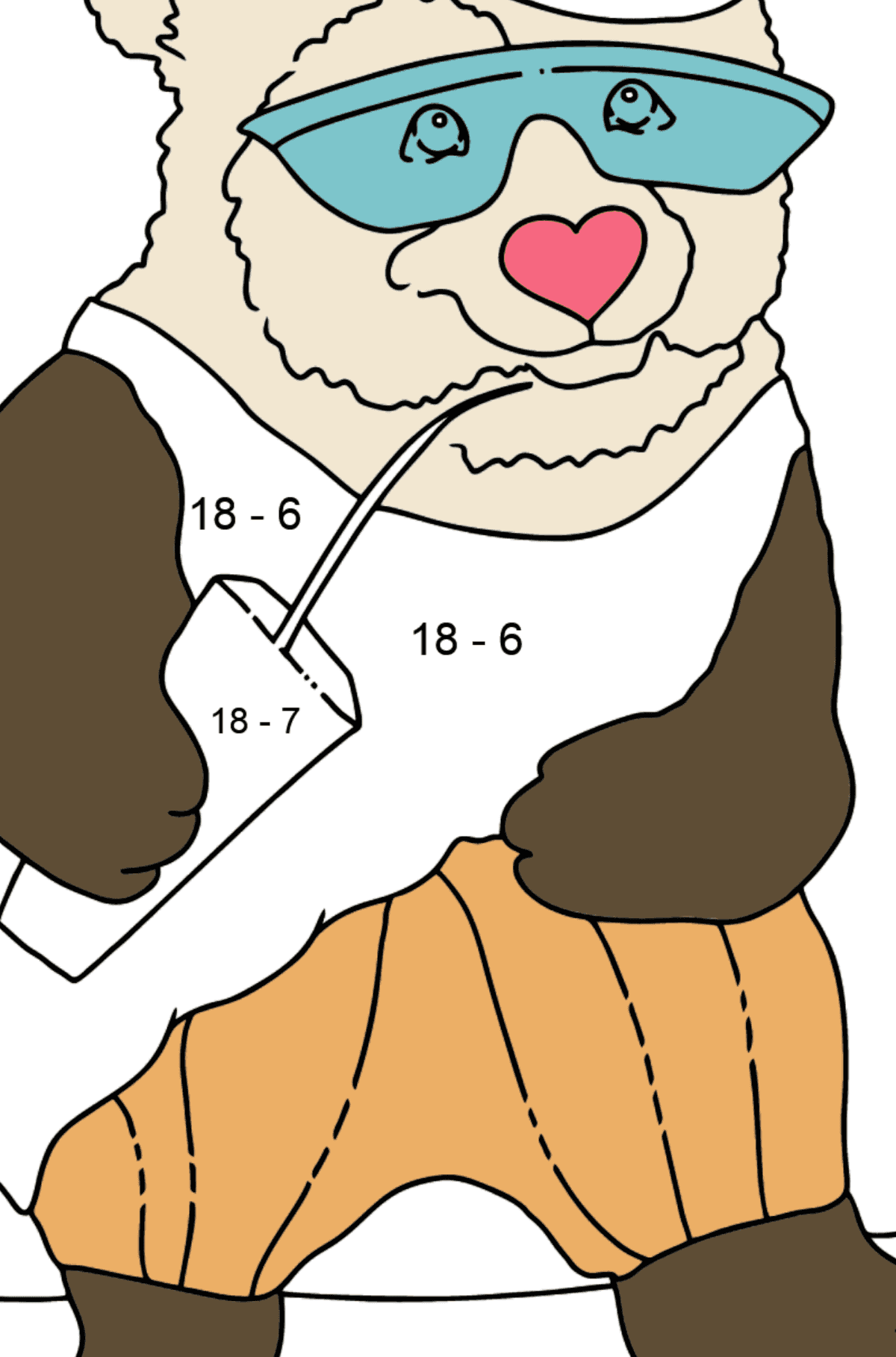 Coloring Page - A Panda on a Skateboard - Math Coloring - Subtraction for Kids