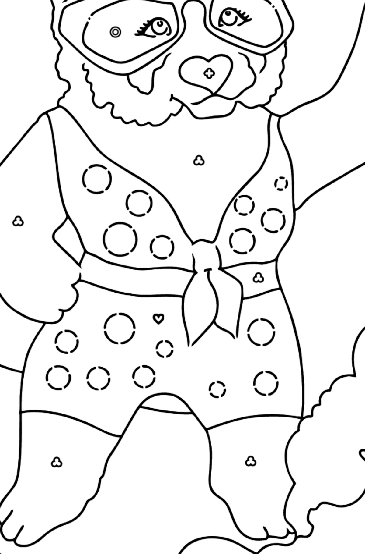 Coloring Page - A Panda Surfer - Coloring by Geometric Shapes for Kids