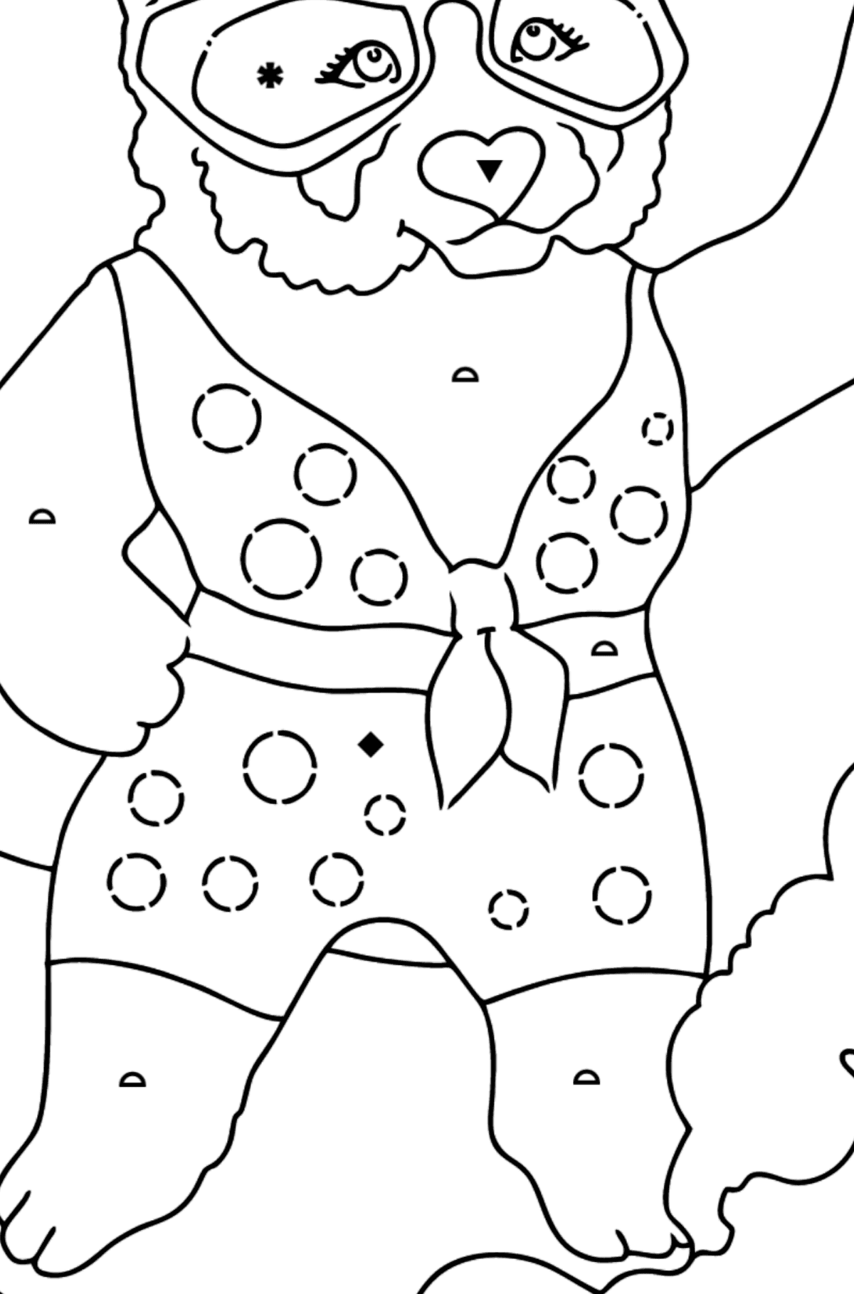 Coloring Page - A Panda Surfer - Coloring by Symbols and Geometric Shapes for Kids