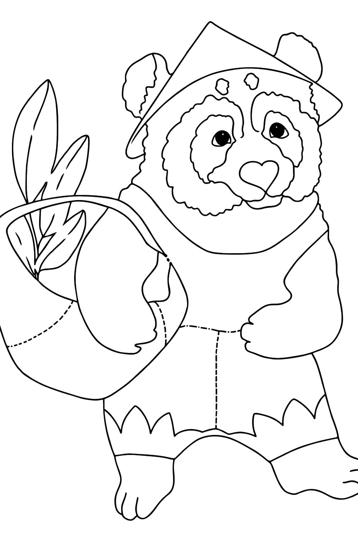 Coloring Page - A Panda with a Basket - Coloring Pages for Kids