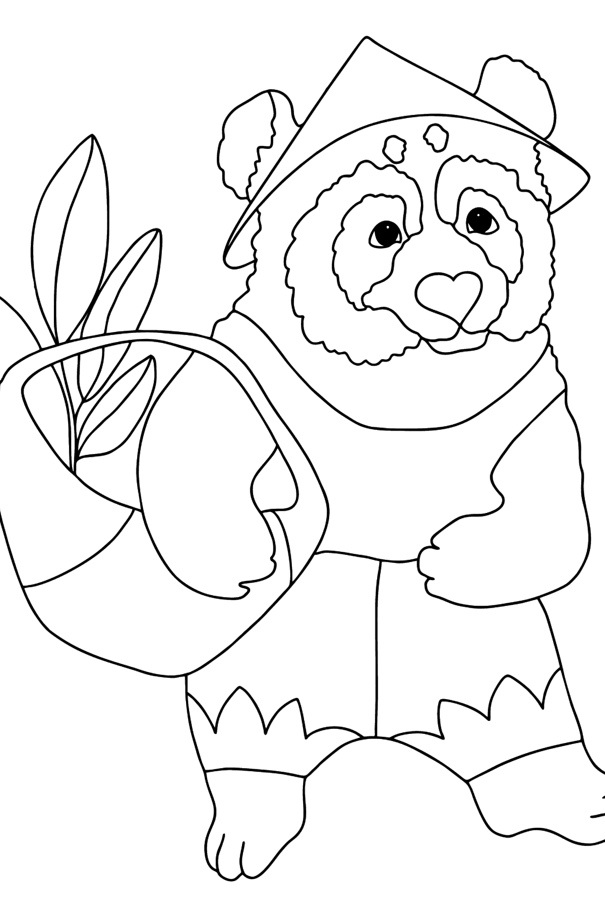 Coloring Page - A Panda with a Crop Basket - Coloring Pages for Kids