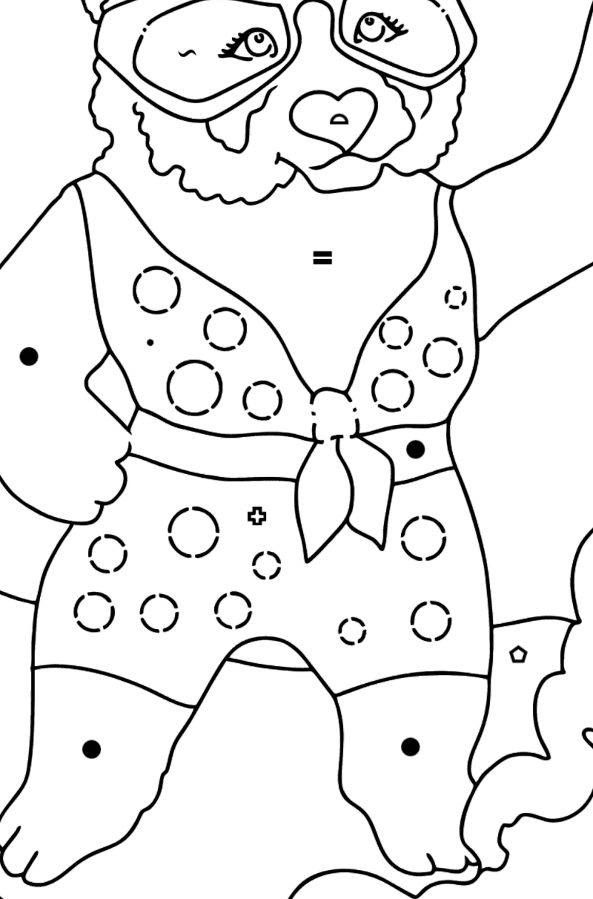 Coloring Page - A Panda with a Surfboard - Coloring by Symbols and Geometric Shapes for Kids