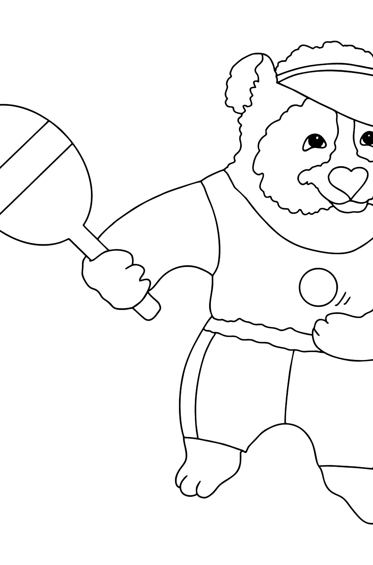 Coloring Picture - A Panda and Tennis - Coloring Pages for Kids