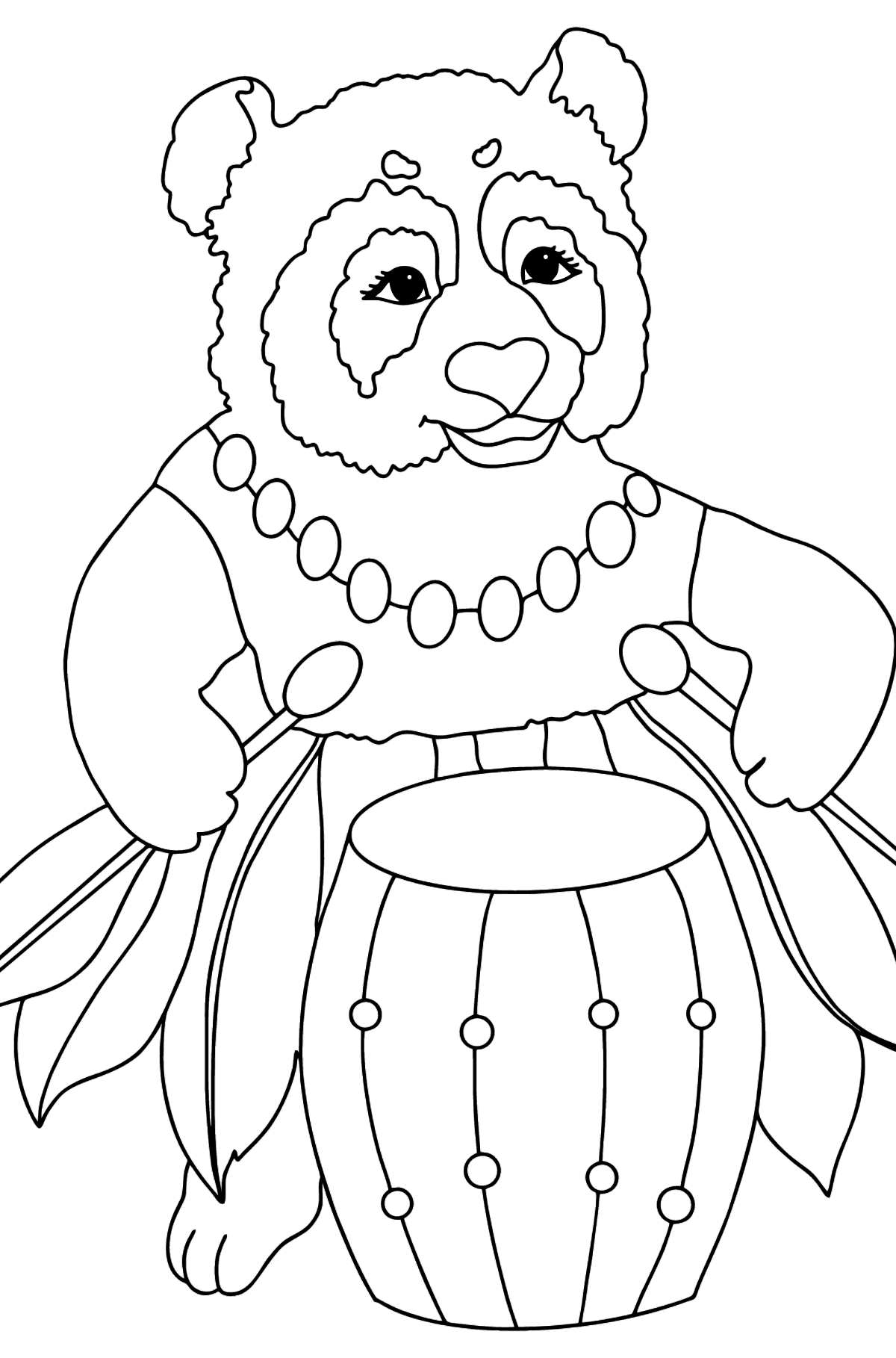 Coloring Picture - A Panda Drummer - Coloring Pages for Kids
