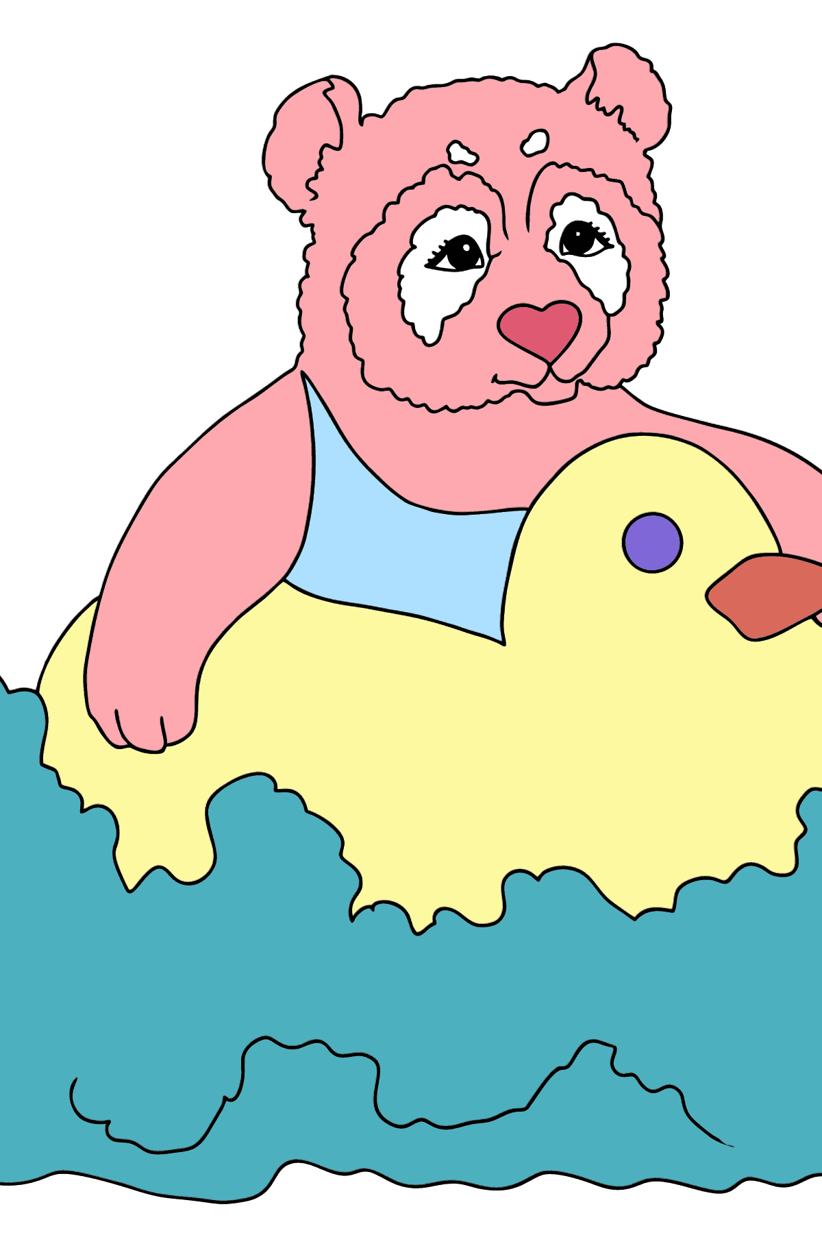 Coloring Picture - A Panda is Learning How to Swim - Coloring Pages for Kids