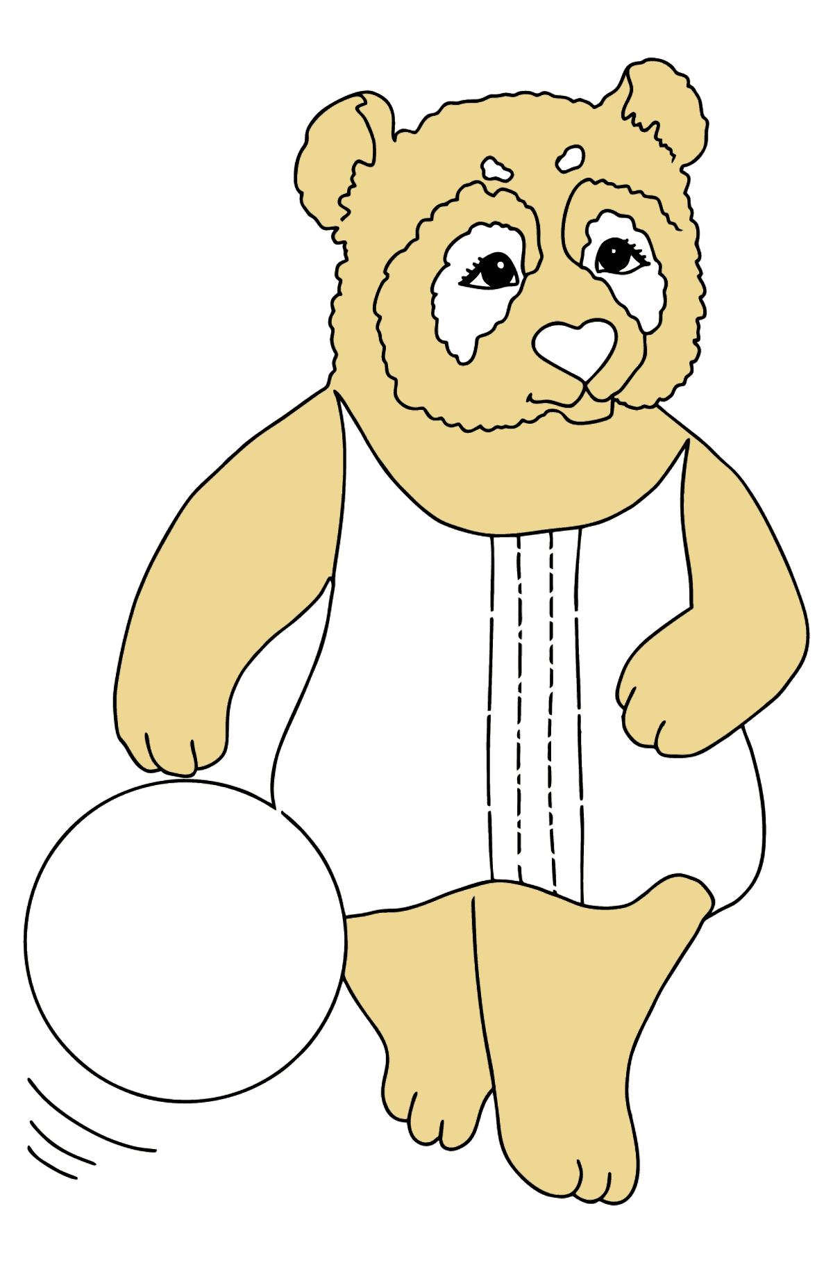 Coloring Picture - A Panda is Playing Ball - Coloring Pages for Kids