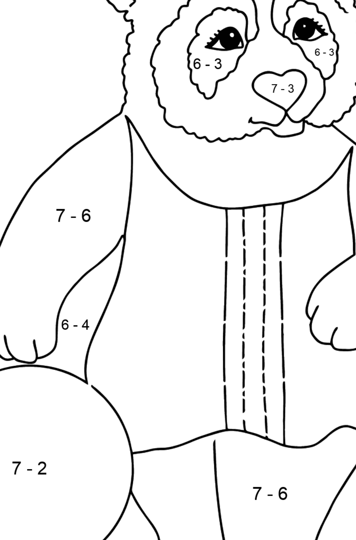 Coloring Picture - A Panda is Playing Ball - Math Coloring - Subtraction for Kids
