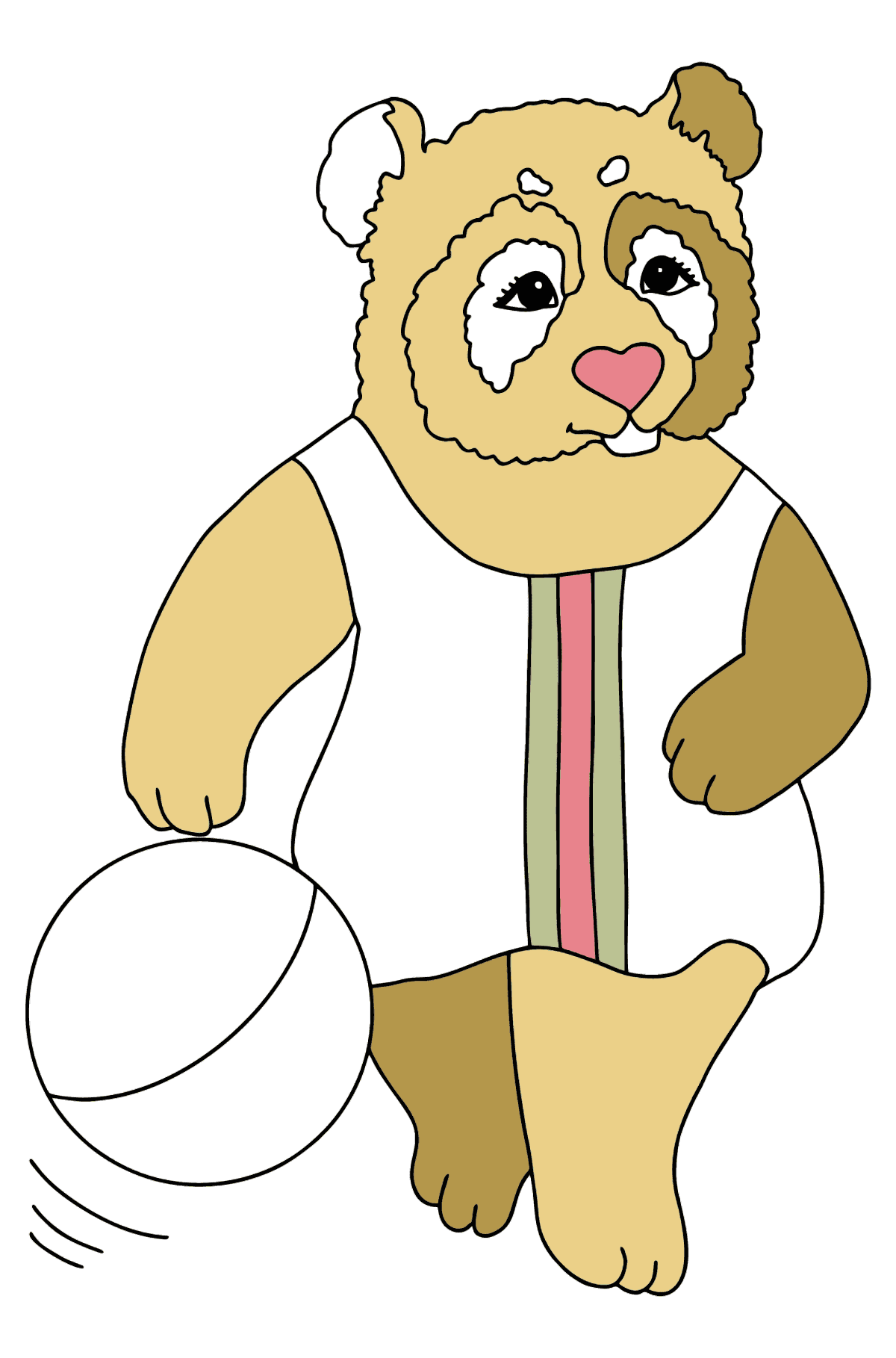 Coloring Picture - A Panda is Playing on a Beach - Coloring Pages for Kids