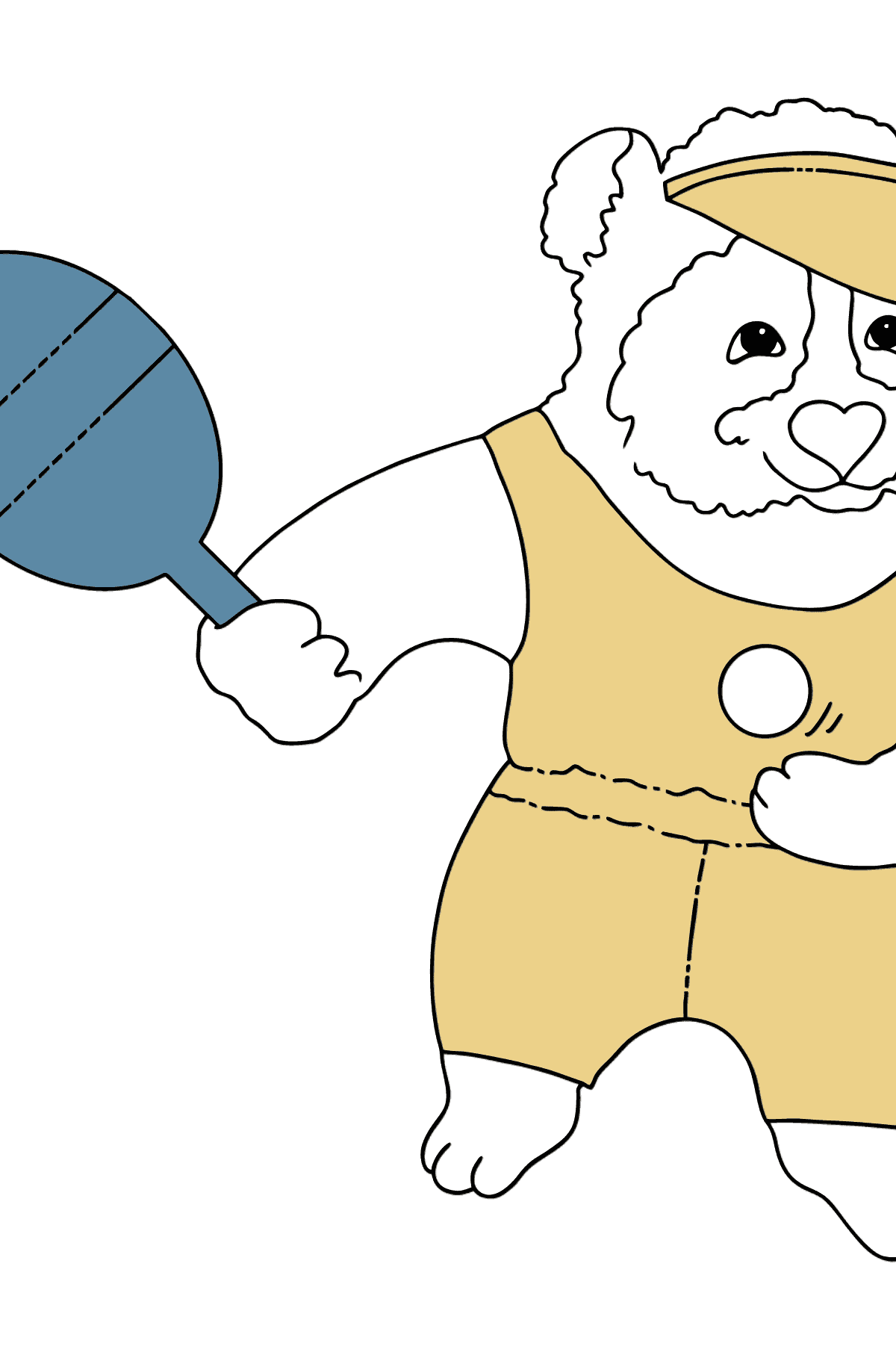 Coloring Picture - A Panda is Playing Tennis - Coloring Pages for Kids
