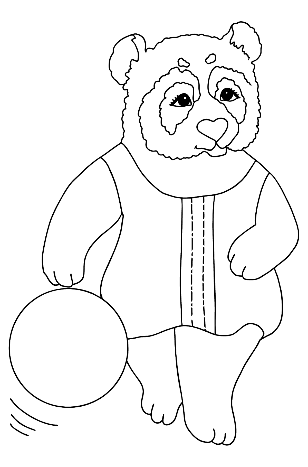 Coloring Picture - A Panda is Resting on a Beach - Coloring Pages for Kids