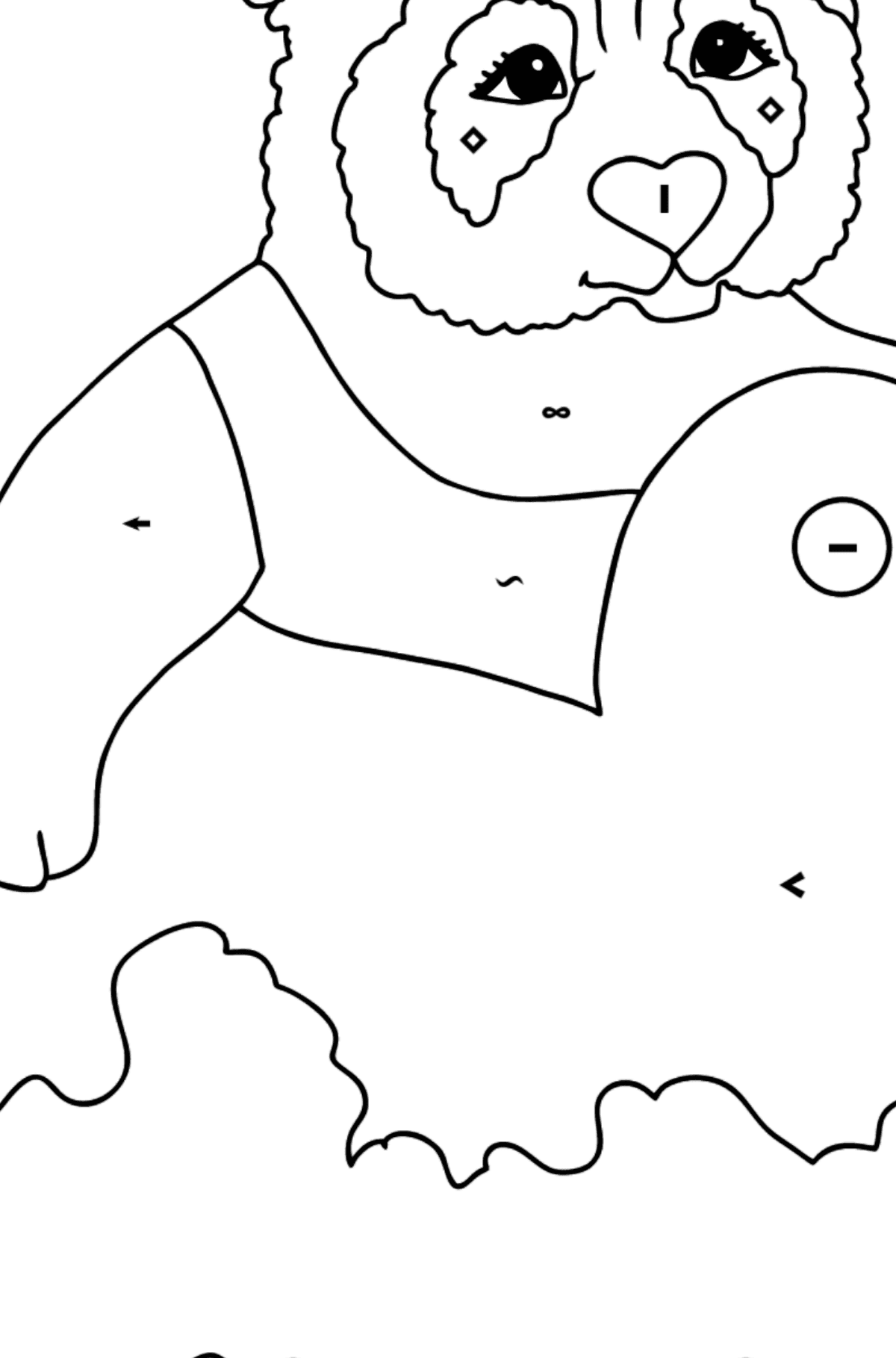 Coloring Picture - A Panda is Swimming - Coloring by Symbols for Kids