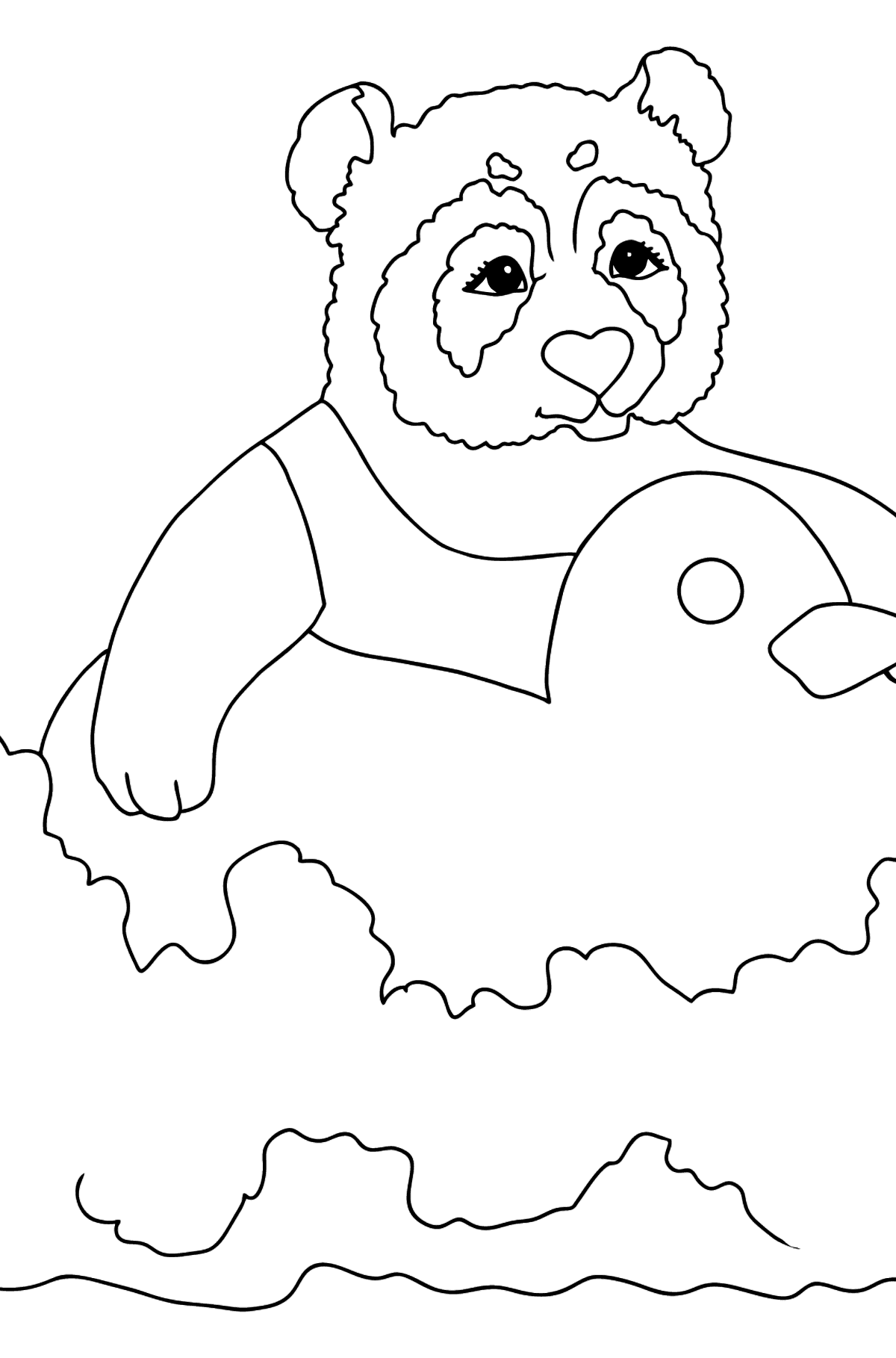 Coloring Picture - A Panda is Swimming - Coloring Pages for Kids