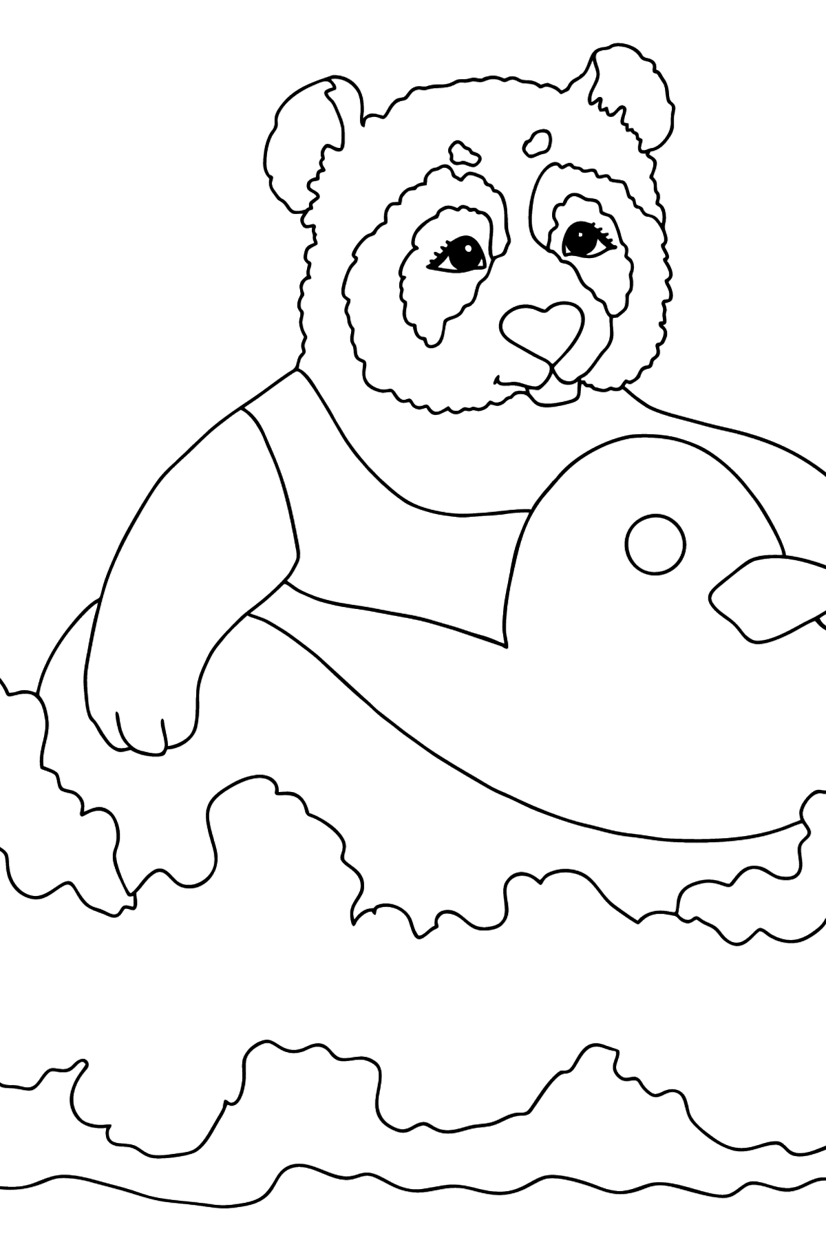 Coloring Picture - A Panda with a Lifebuoy - Coloring Pages for Kids