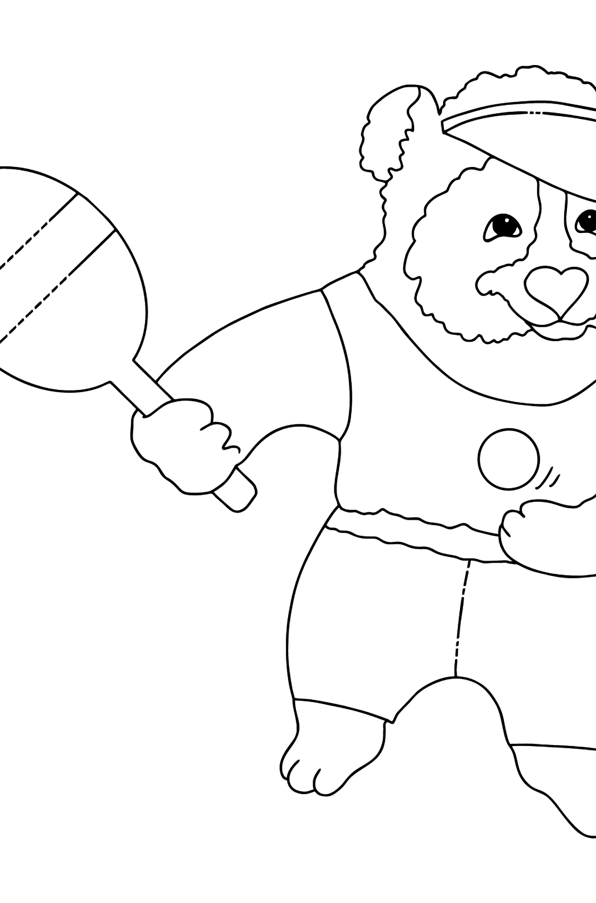 Coloring Picture - A Panda with a Tennis Racket - Coloring Pages for Kids