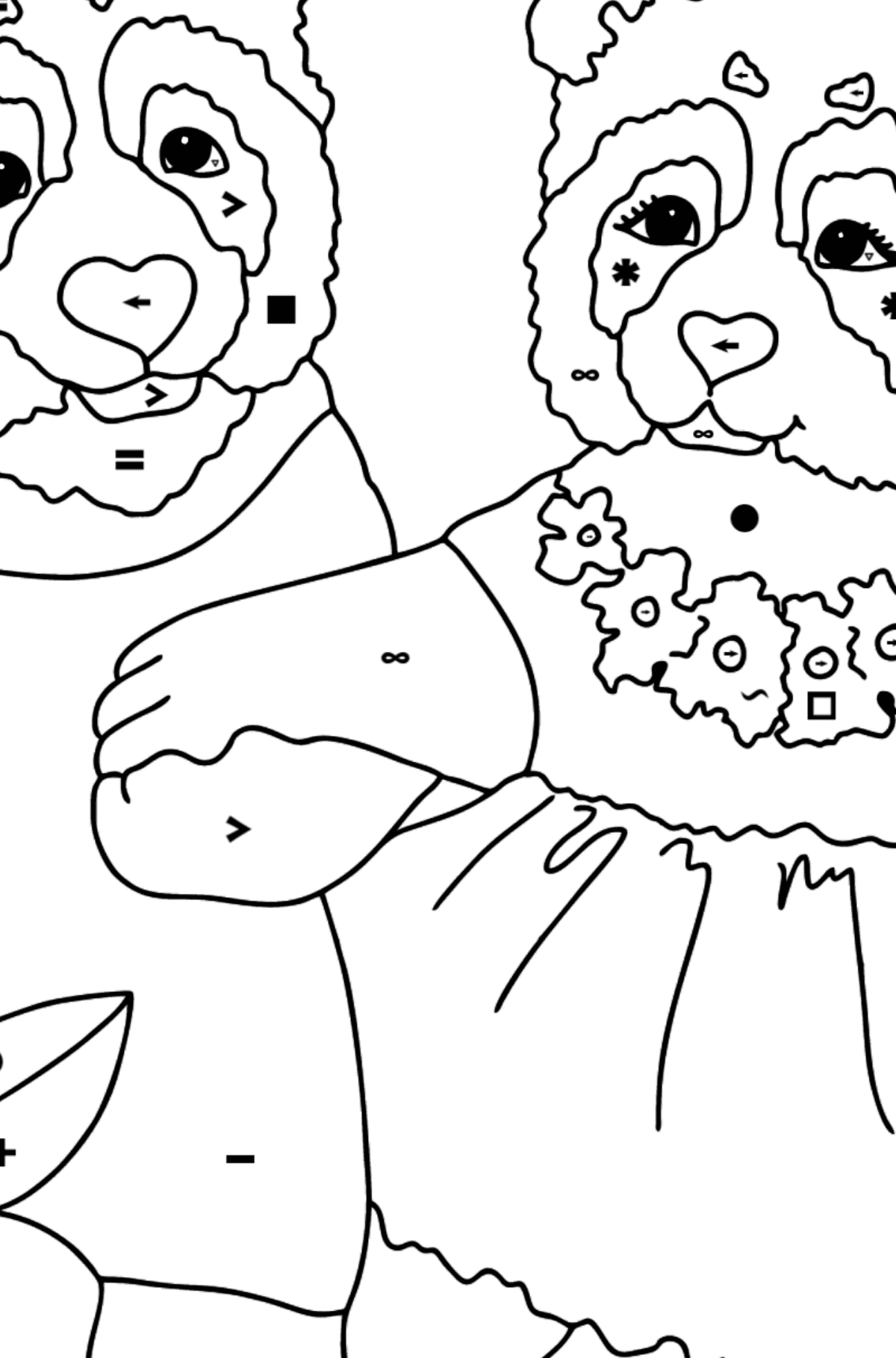 Coloring Page - Pandas are Having a Rest - Coloring by Symbols for Kids