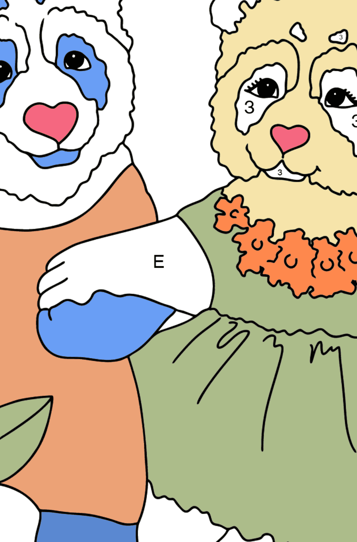 Раскраска Панды гуляют - Раскраска по Буквам для Детей