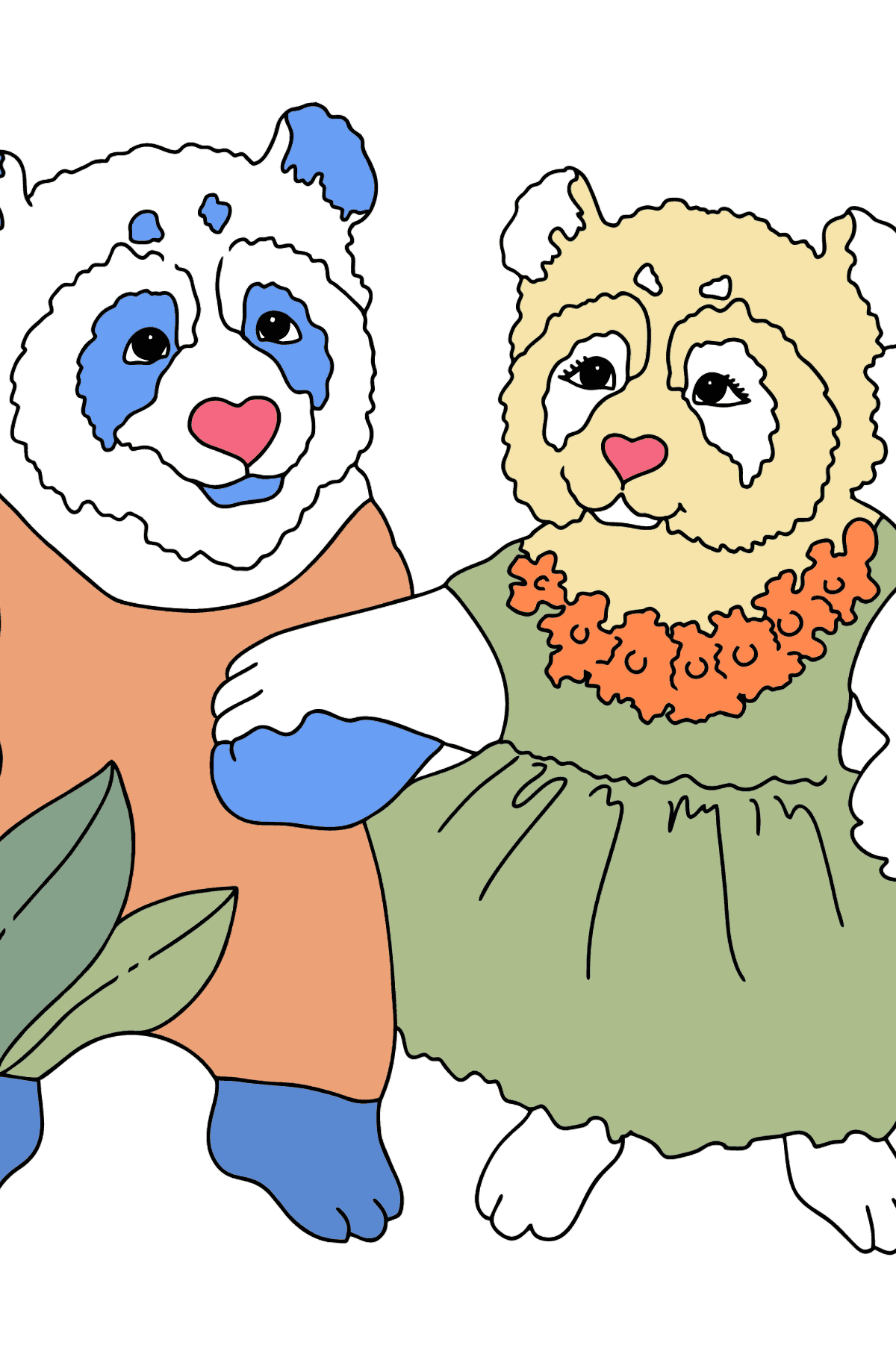 Coloring Page - Pandas are Taking a Walk - Coloring Pages for Kids
